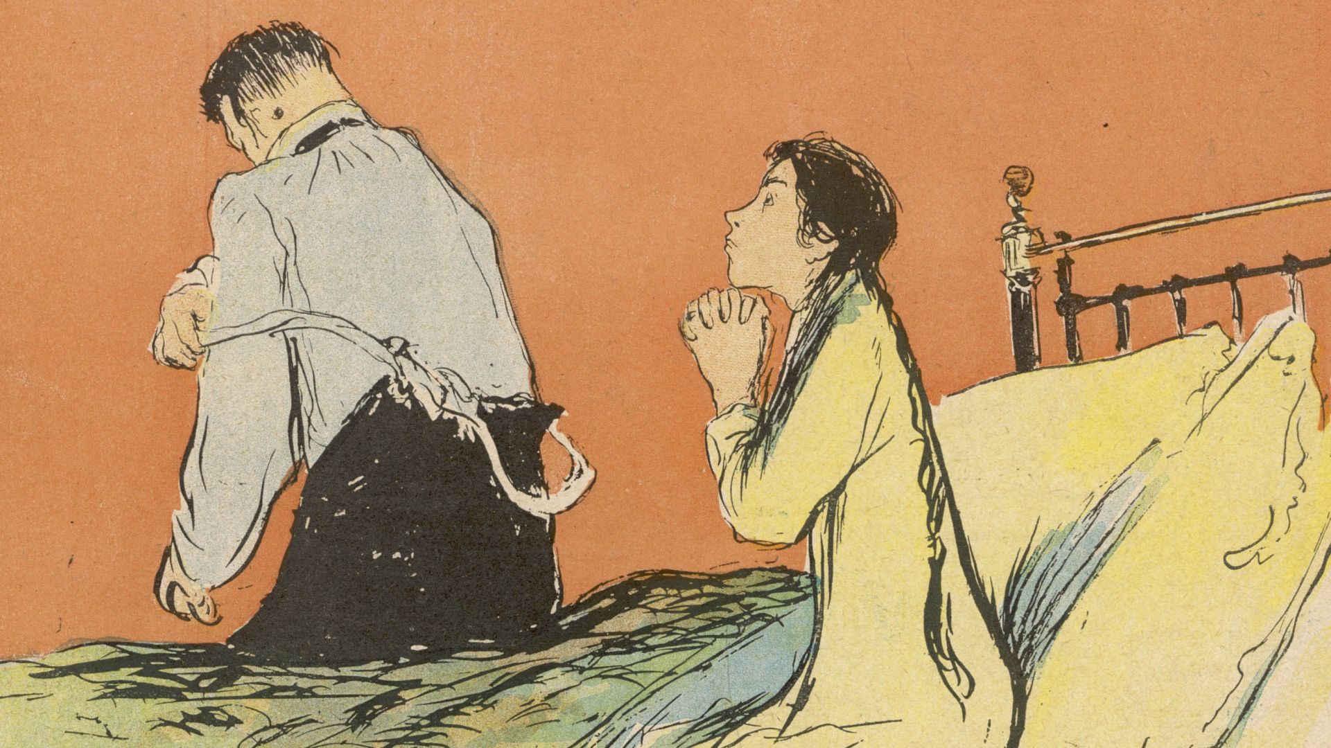 An illustration on the front of the 19th century publication, Le Rire, of a woman praying to be spared of an unwanted pregnancy while her husband gets ready to come to bed. (Credit: Historia/REX/Shutterstock)