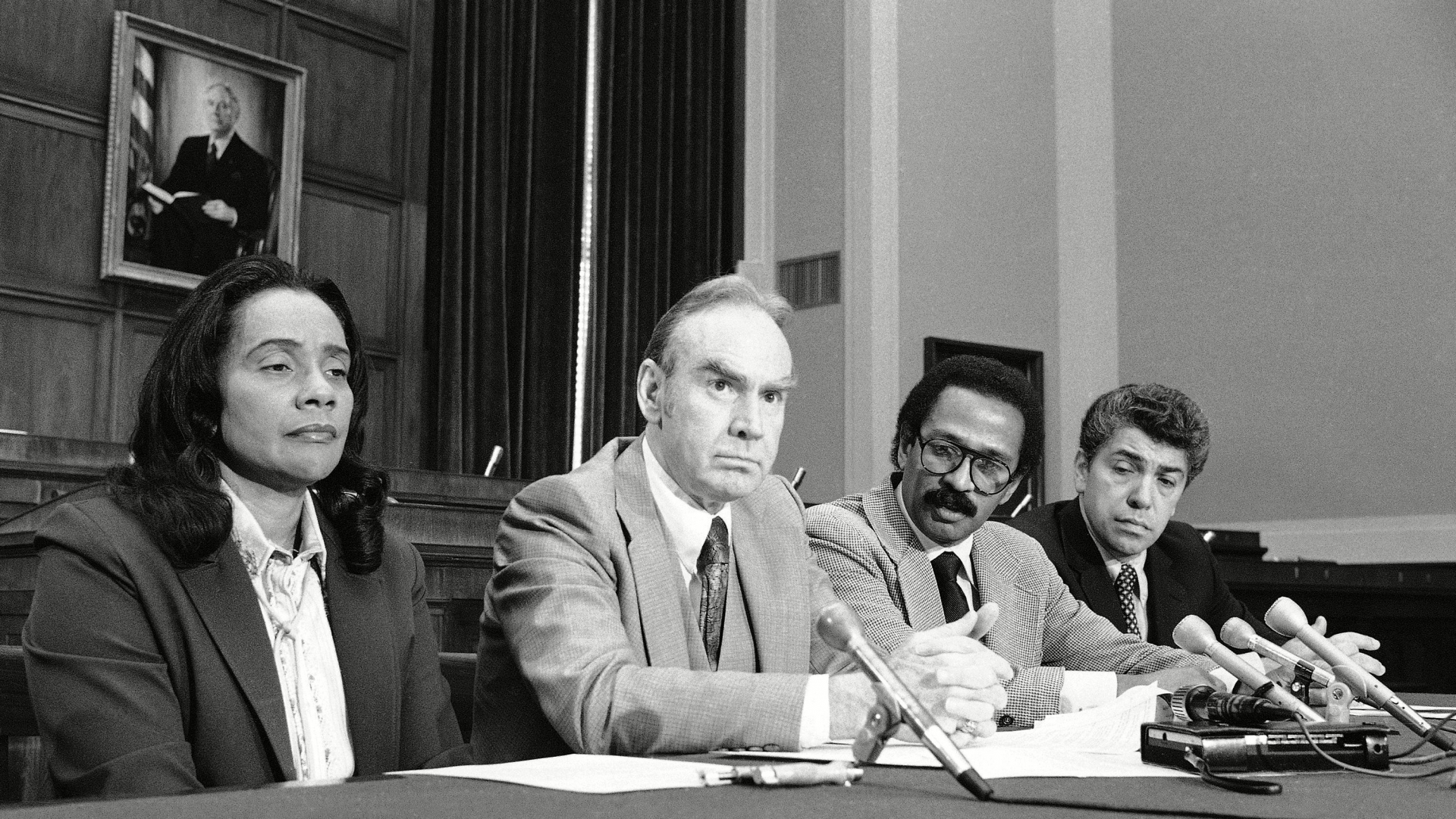 Coretta Scott King, widow of Dr. Martin Luther King, Jr., joining congressmen Jim Wright, John Conyers and Robert Garcia in Washington, in asking support for legislation designating her late husband's birthday as a legal holiday. (Credit: John Duricka/AP/REX/Shutterstock)