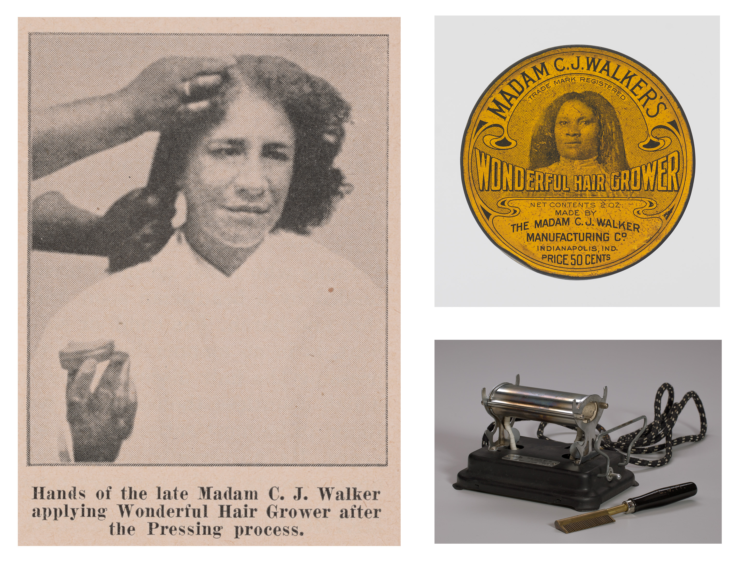"""A page from the Madam C.J. Walker Beauty School textbook, Madam C.J. Walker's """"Wonderful Hair Grower"""" and a 1920s electrical hot comb heater and comb. (Gift of A'Lelia Bundles/Madam Walker Family Archives; Gift from Dawn Simon Spears and Alvin Spears Sr; Gift of Linda Crichlow White in honor of her aunt, Edna Stevens McIntyre/Collection of the Smithsonian National Museum of African American History and Culture)"""