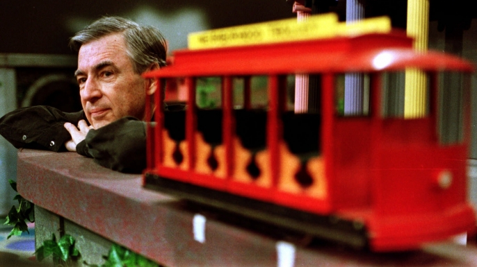 "Fred Rogers pauses during a May 27, 1993 taping of his show "" Mister Rogers' Neighborhood,"" in Pittsburgh. (AP Photo/Gene J. Puskar)"