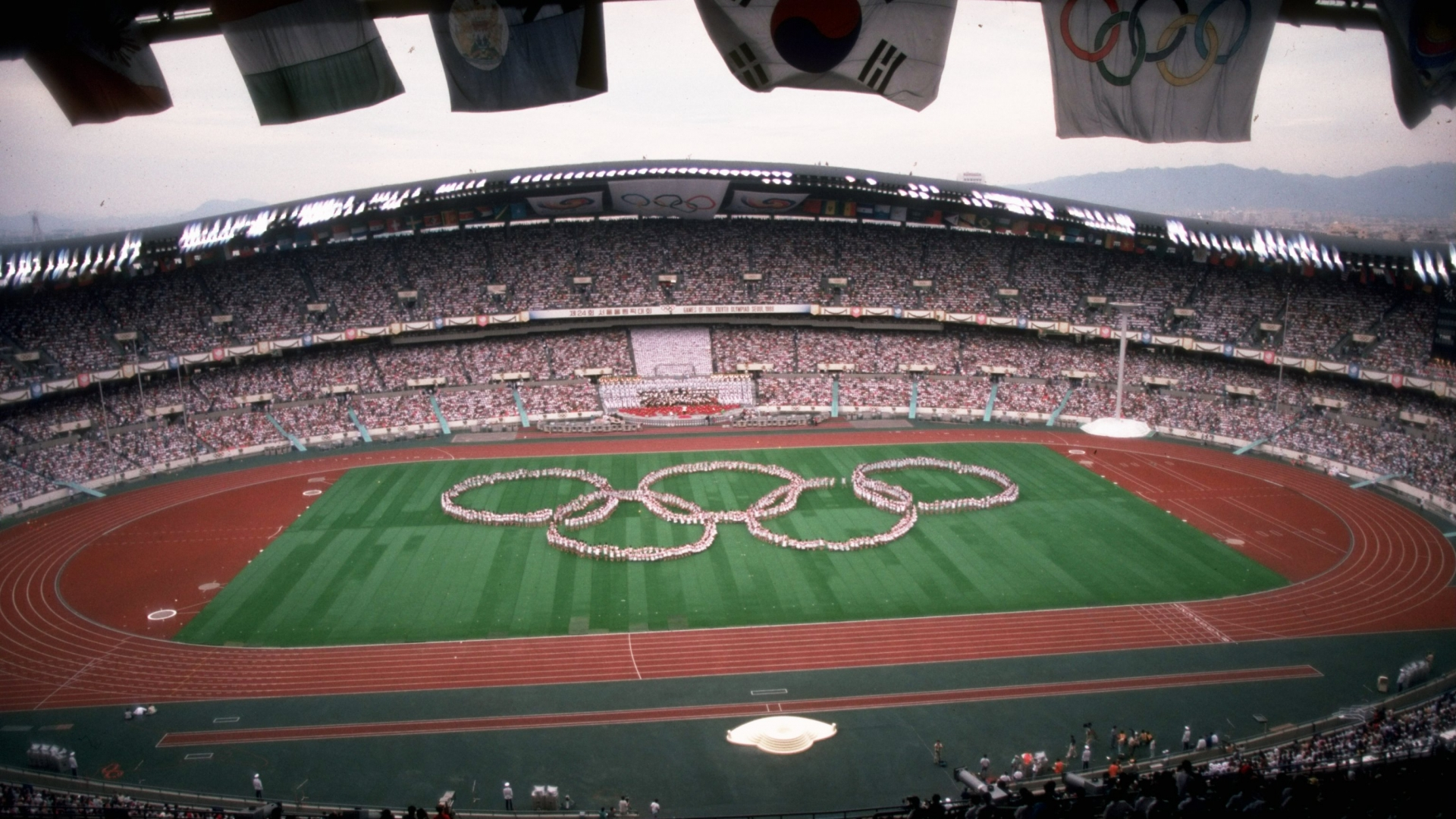The Olympic Stadium during a dress rehearsal for the Opening Ceremony of the 1988 Olympic Games in Seoul, South Korea. (Credit: Gray  Mortimore/Allsport/Getty Images)
