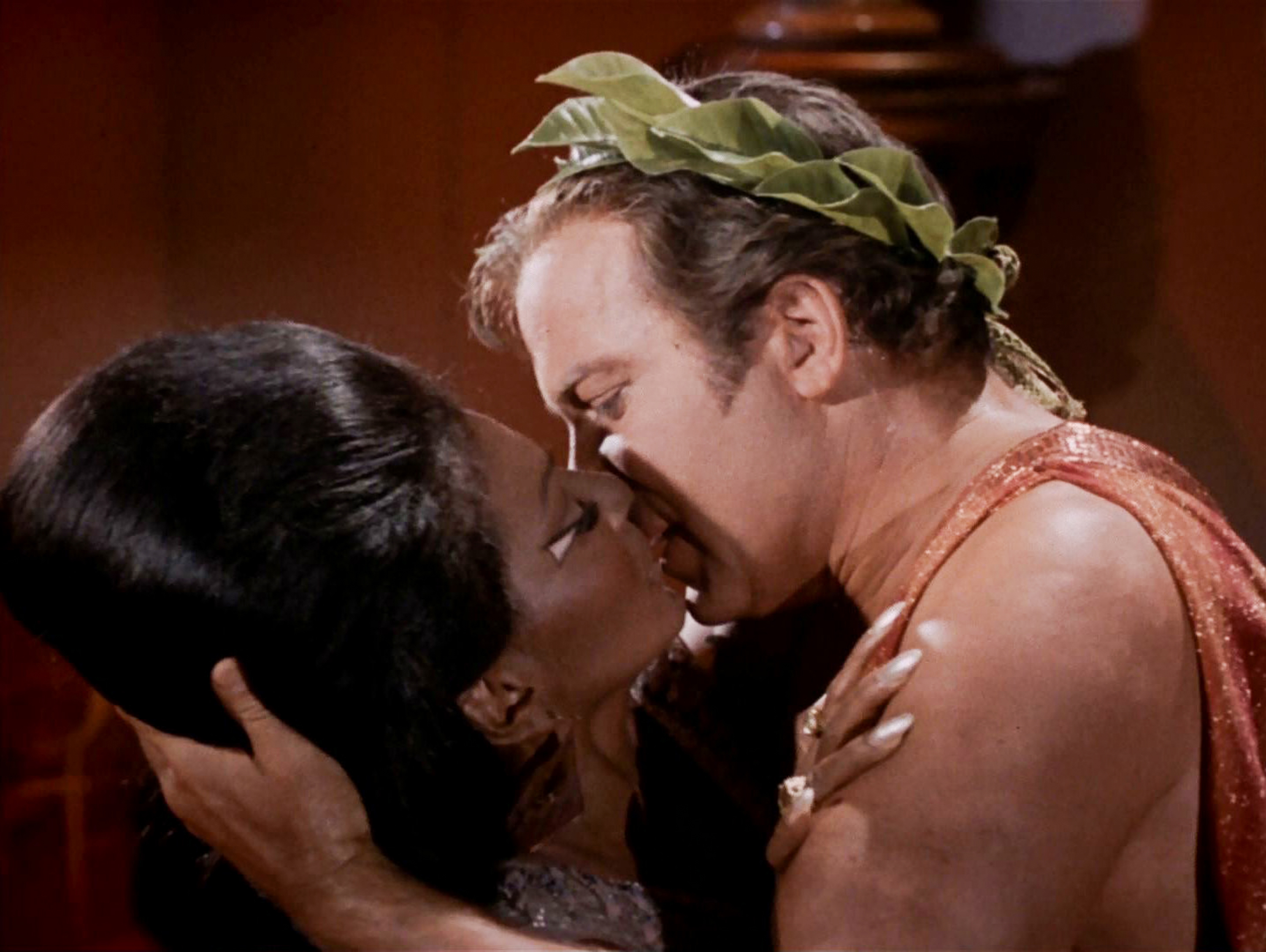 During the third season of Star Trek, Nichelle Nichols as Uhura and William Shatner as Captain Kirk shared television's first interracial kiss. (Credit: CBS/Getty Images)