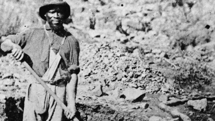 A miner in Auburn Ravine during the Gold Rush, California, 1852. (Credit: Hulton Archive/Getty Images)