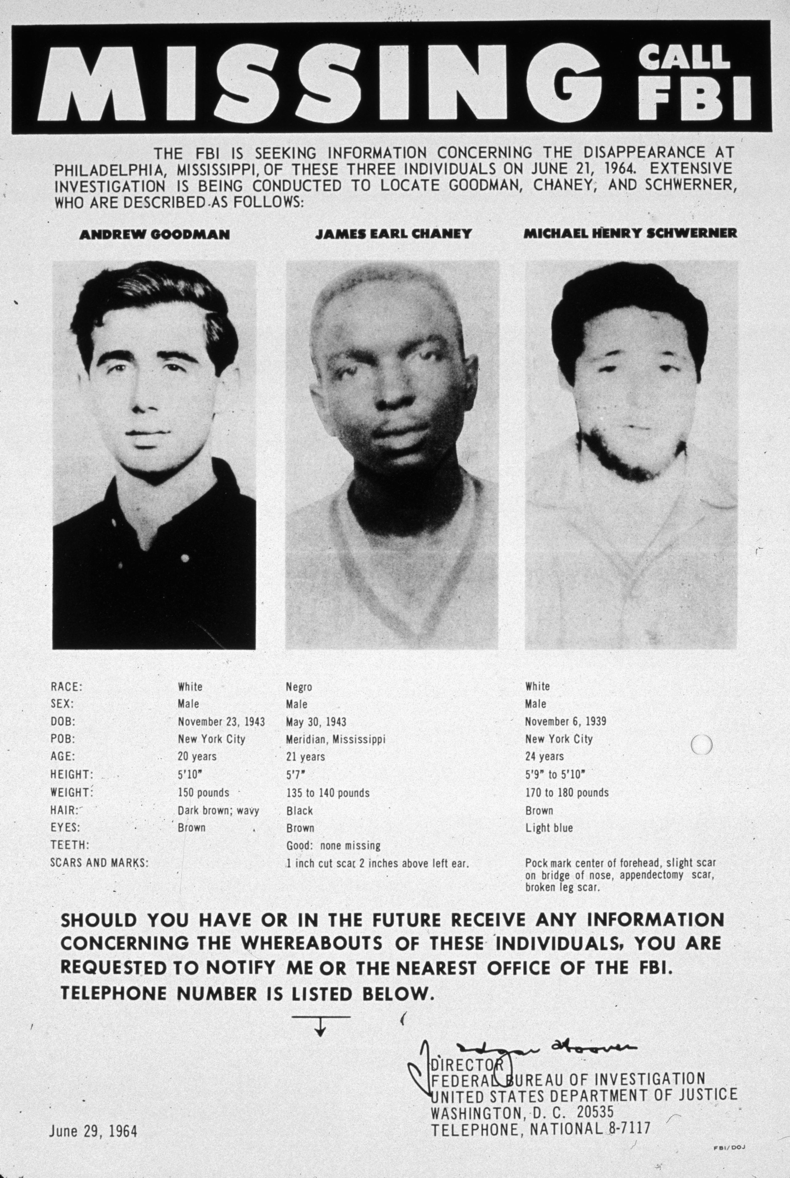 A 1964 FBI poster seeking information as to the whereabouts of Andrew Goodman, James Chaney, and Michael Schwerner. (Credit: MPI/Getty Images)