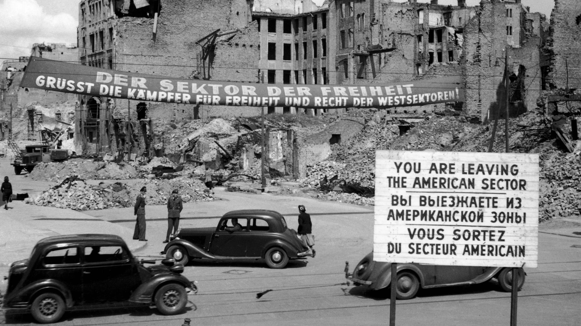 Road blocks from the Russian-American sector boundary in Germany, 1949. (Credit: Keystone/Getty Images)