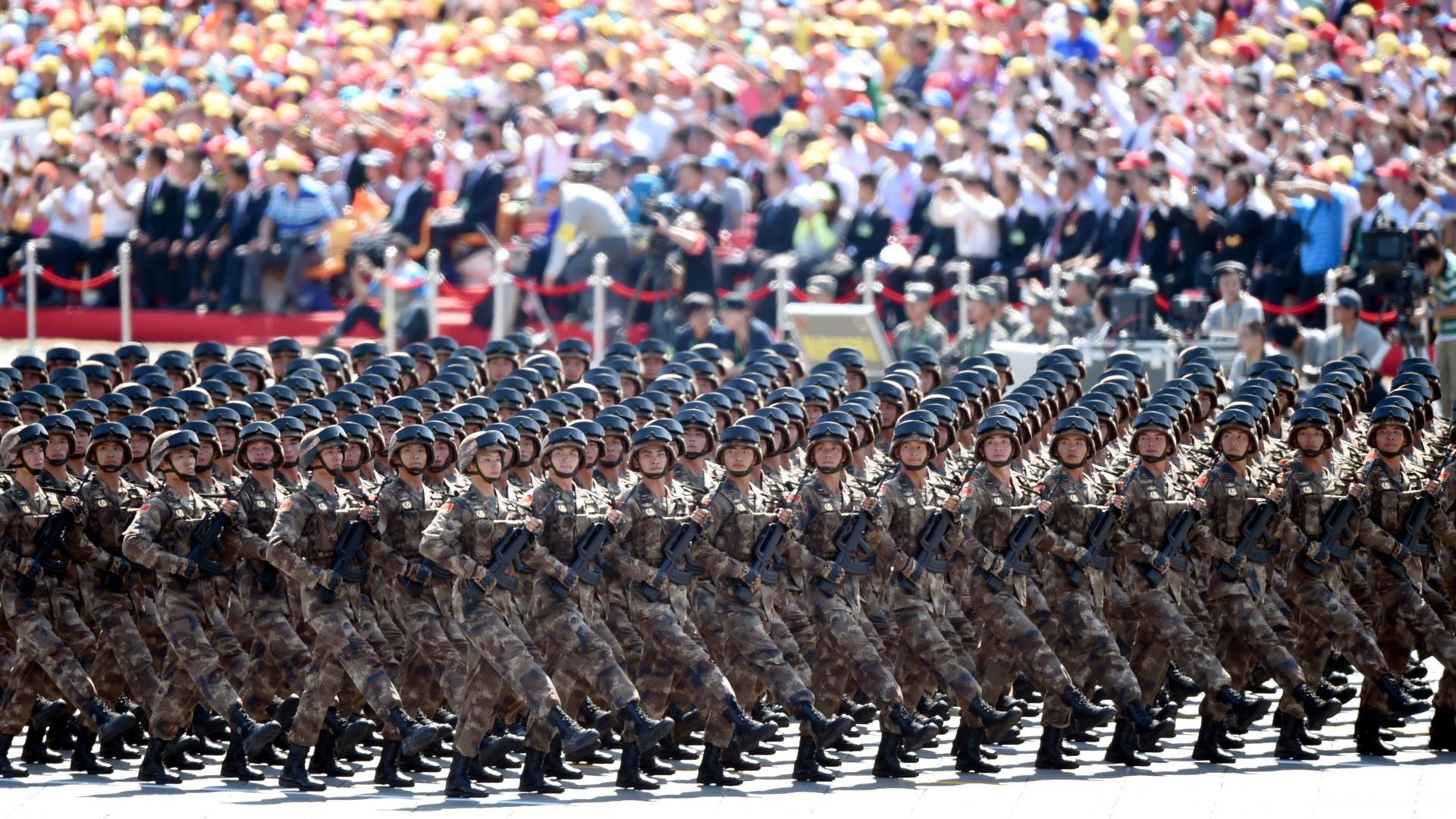A military parade to mark the 70th anniversary of the victory of the Chinese People's War of Resistance Against Japanese Aggression and the World Anti-Fascist War, Beijing, China, 2015. (Credit: Xinhua/Wang Dingchang via Getty Images)