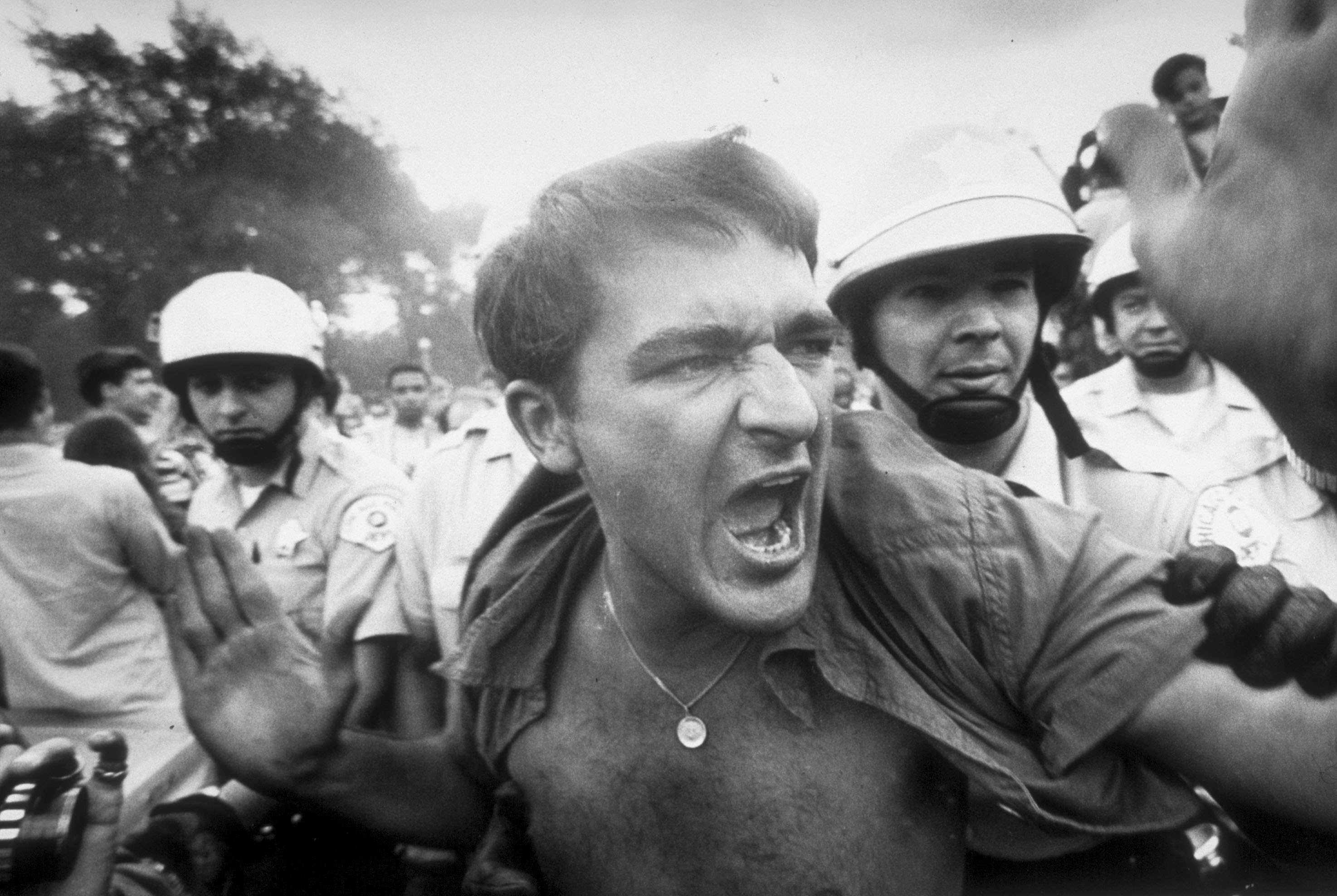 An unidentified protester being led away by police from the demonstration outside the 1968 Democratic National Convention. (Credit: Lee Balterman/The LIFE Picture Collection/Getty Images)