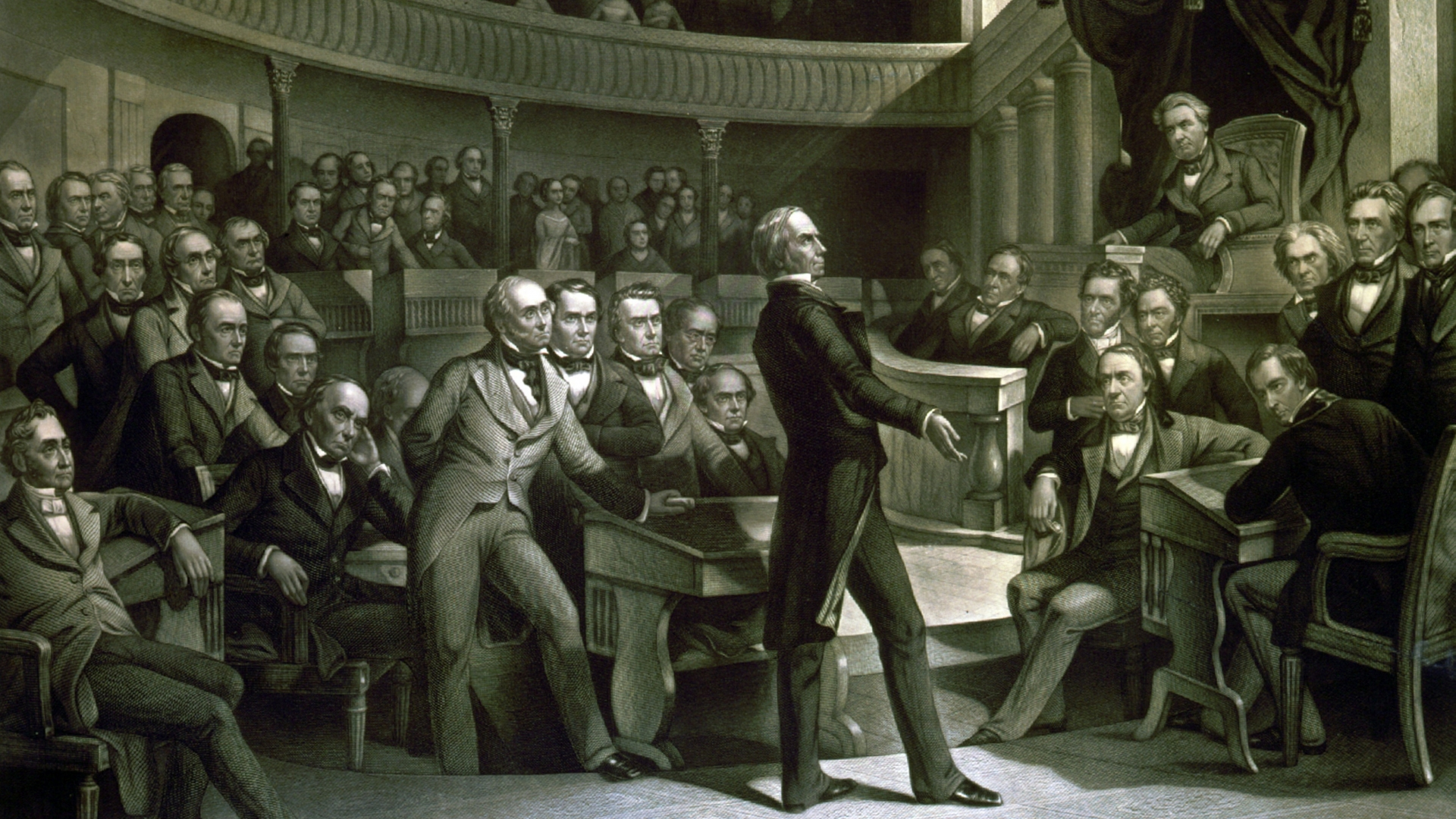The United States Senate discussing the Compromise of 1850 in the Old Senate Chamber. (Credit: Universal History Archive/UIG via Getty images)