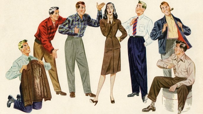 Vintage illustration of a woman choosing between a group of male suitors, 1946. (Credit: GraphicaArtis/Getty Images)