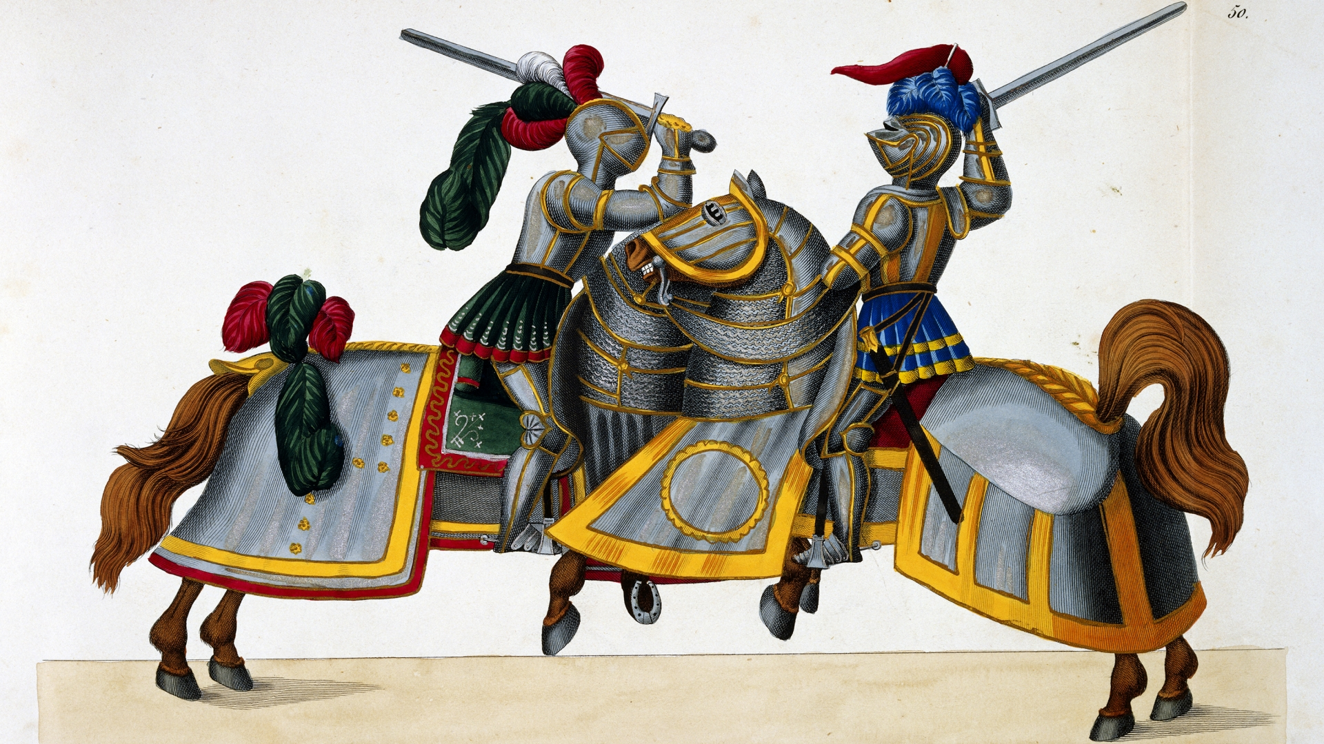 An illustration of Knights from A History of the Development and Customs of Chivalry, by Dr. Franz Kottenkamp, 1842. (Credit: Historical Picture Archive/Corbis/Getty Images)