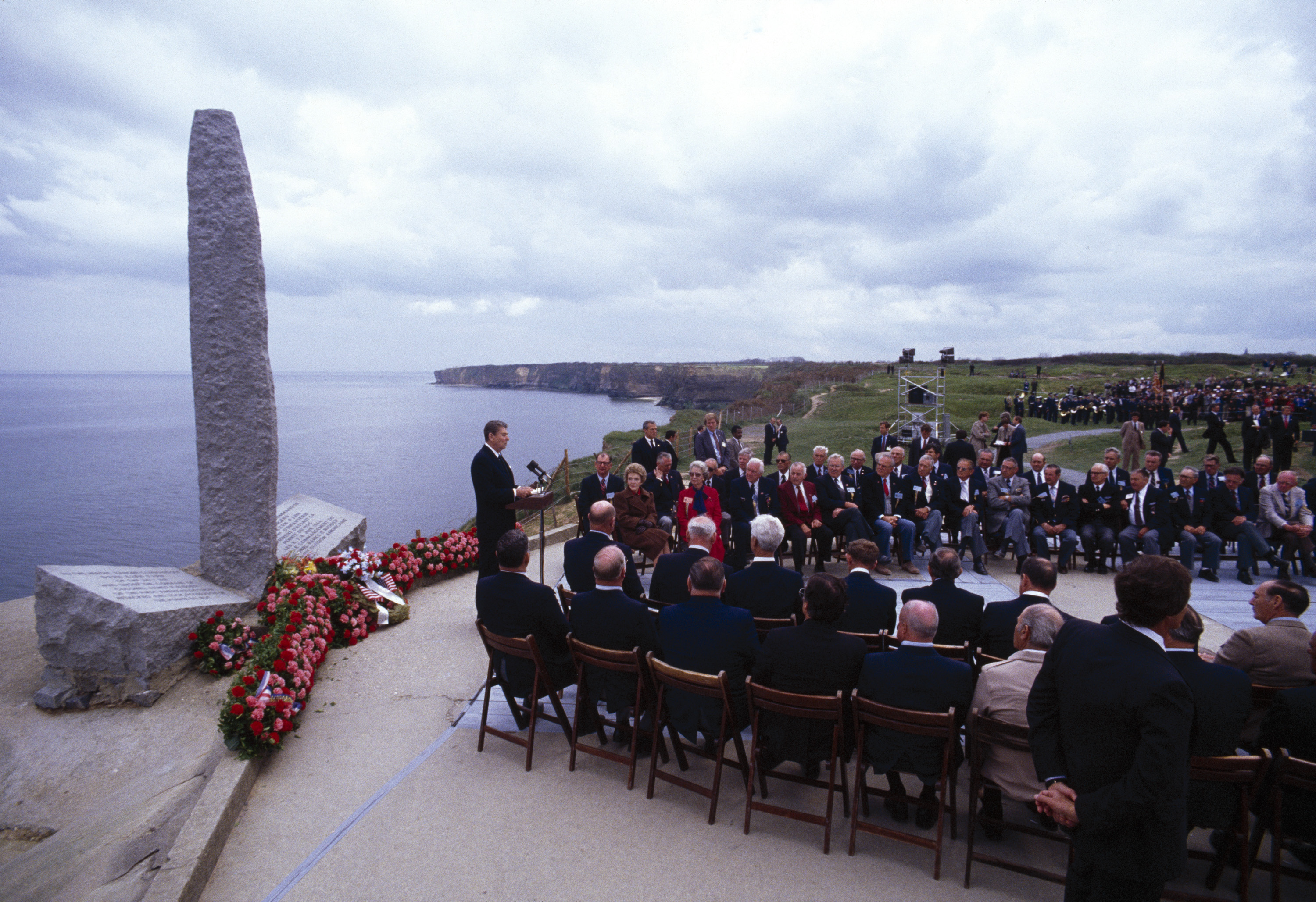 One of two speeches U.S. President Ronald Reagan gave commemorating the 40th Anniversary of the 1944 D-Day Invasion. (Credit: David Hume Kennerly/Getty Images)