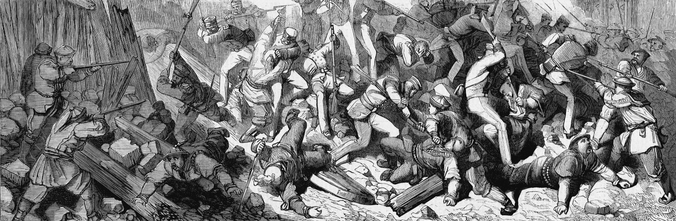 Allied French and English troops storm through a breech in the fortifications of Canton (Guangzhou), China. The event occurred during the Tai Ping Rebellion, a war begun by a Kwangsi district schoolmaster and mystic Hong Xiuquan, who believed himself the younger brother of Jesus Christ. (Credit: Corbis/Getty Images)