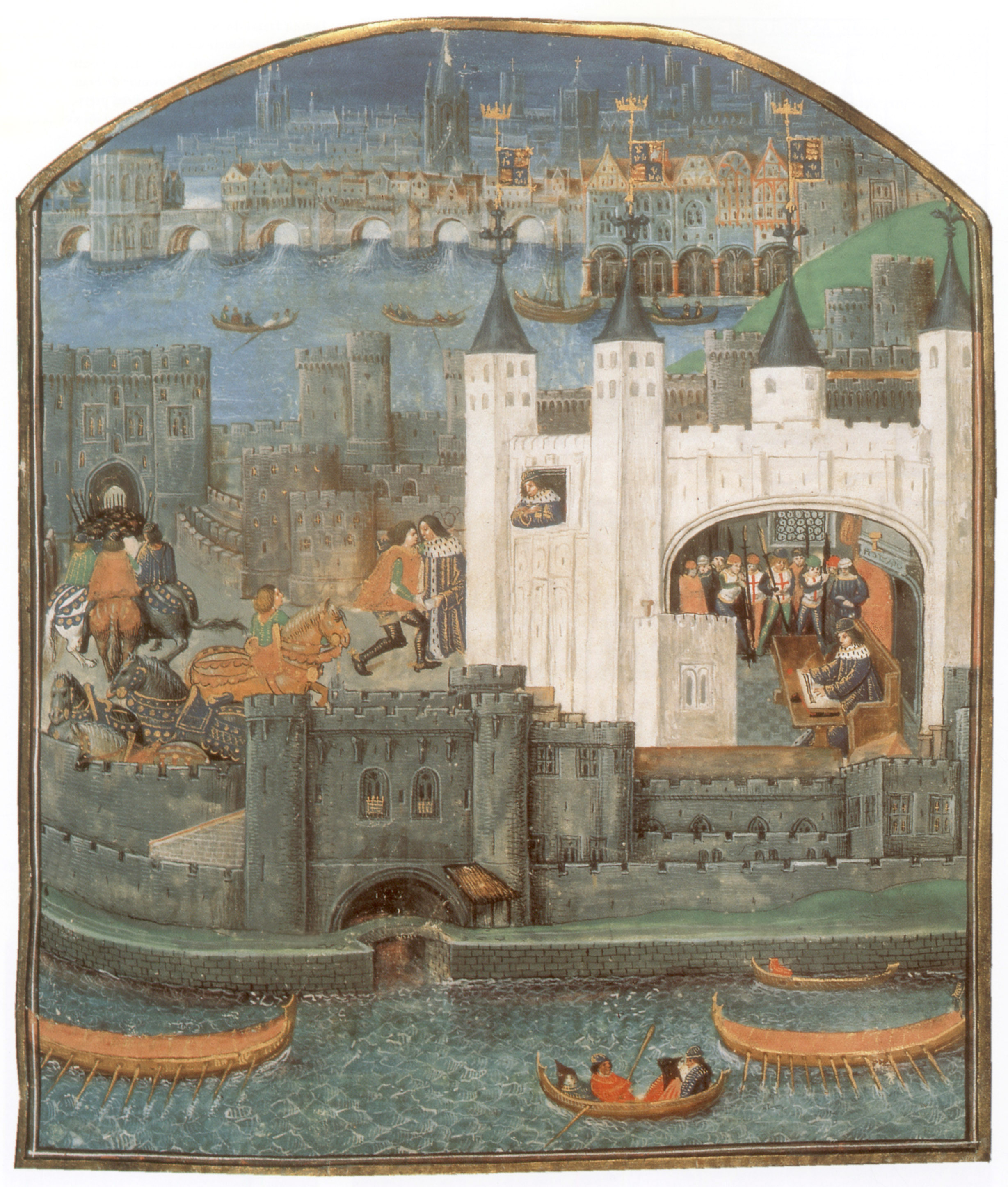 """View of the tower where Charles was captured, illustrated in """"Poems of Charles, Duke d'Orleans"""" c. 1500.  (Credit: Apic/Getty Images)"""
