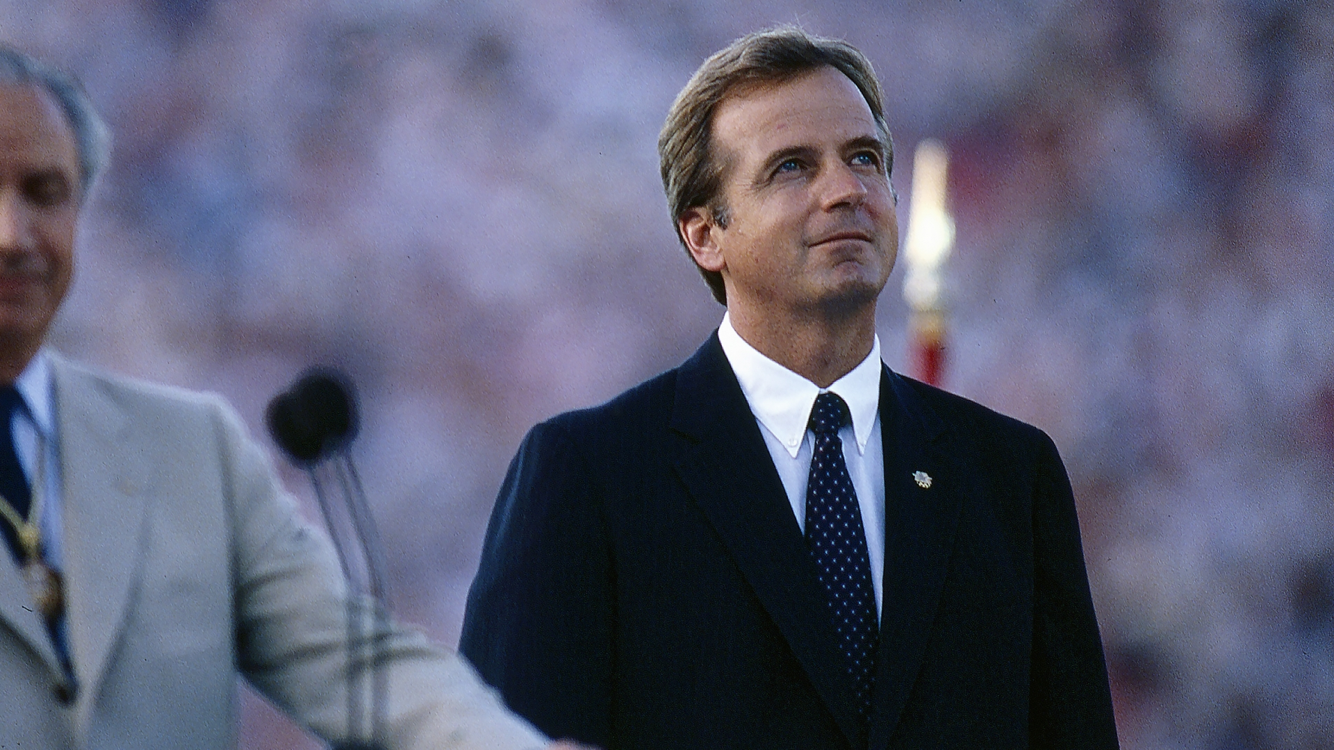 Peter Ueberroth at the opening ceremonies for the 1984 Summer Olympics at Memorial Coliseum. (Credit: ABC/Getty Images)
