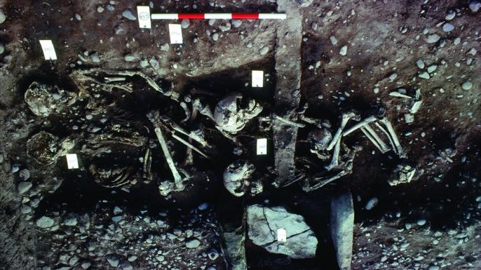 Photograph of the juvenile grave. (Credit: Martin Biddle/University of Bristol)