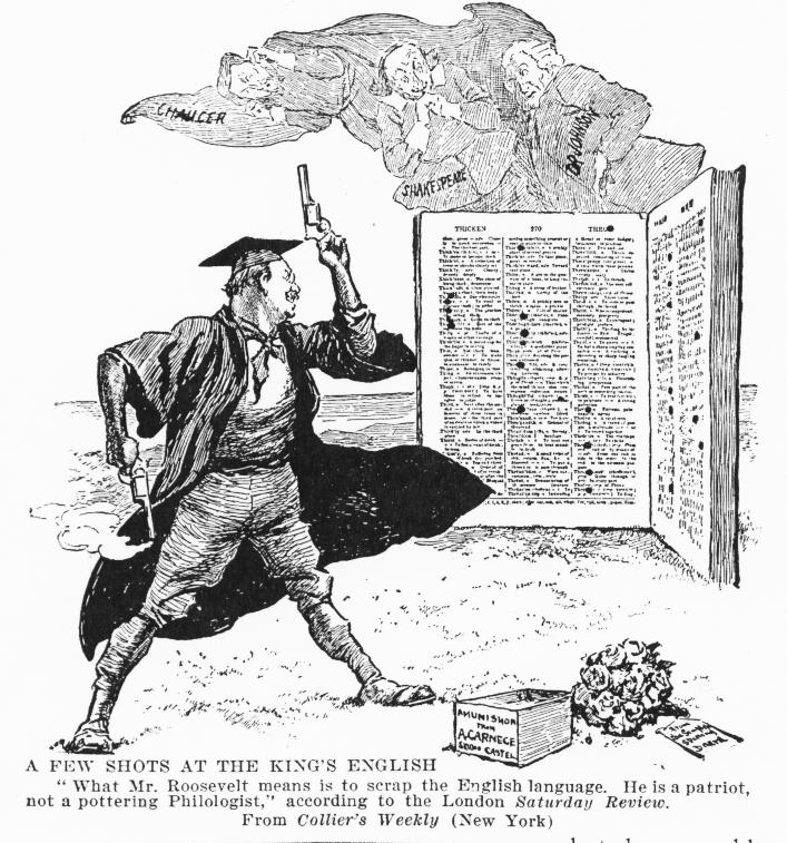 1906 cartoon about Roosevelt's simplified spelling campaign sponsored by Carnegie from the Collier's Weekly. (Credit: Public Domain)