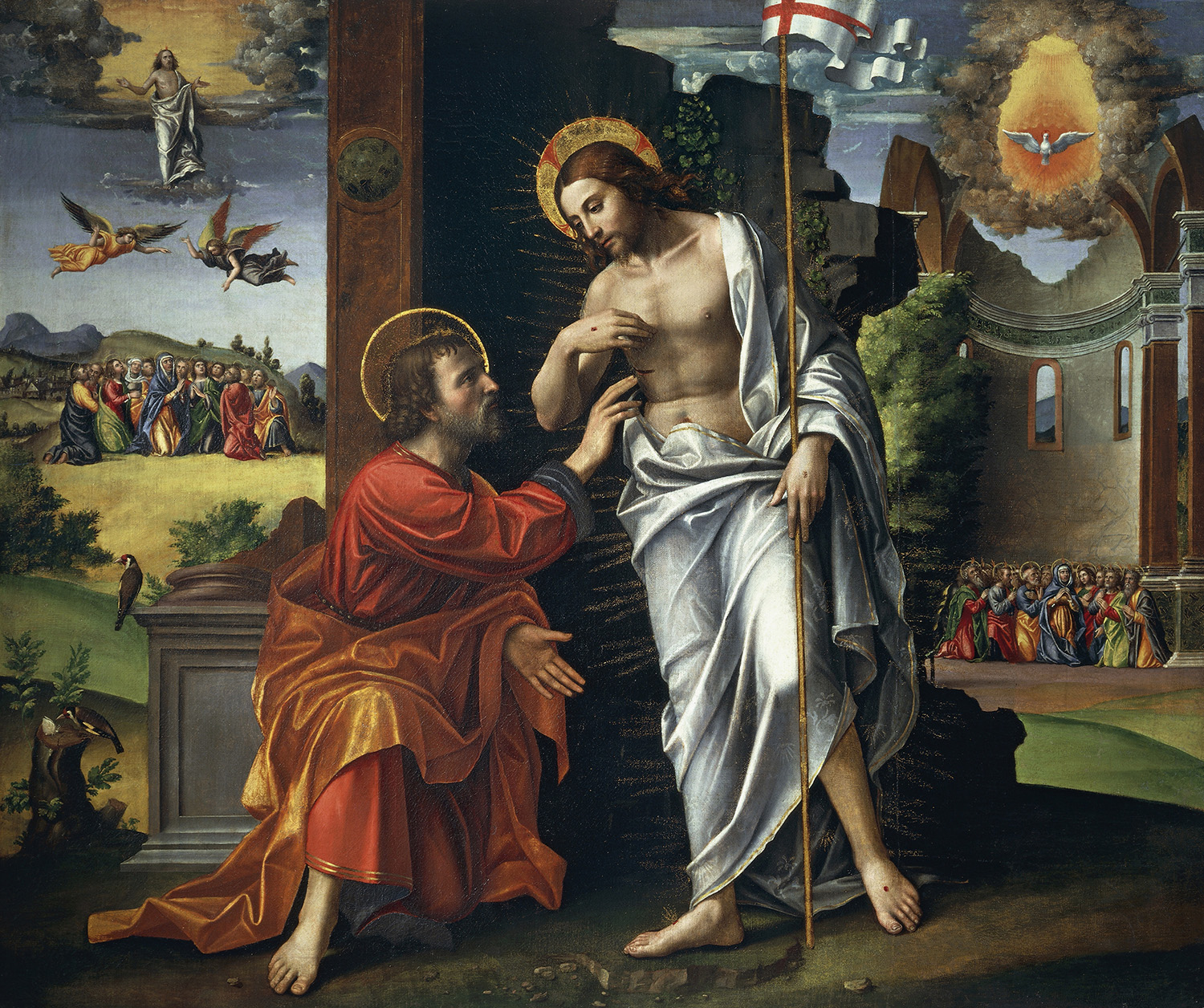Christ and Doubting Thomas, painted by Paolo Cavazzola (1486-1522). (Credit: DeAgostini/Getty Images)