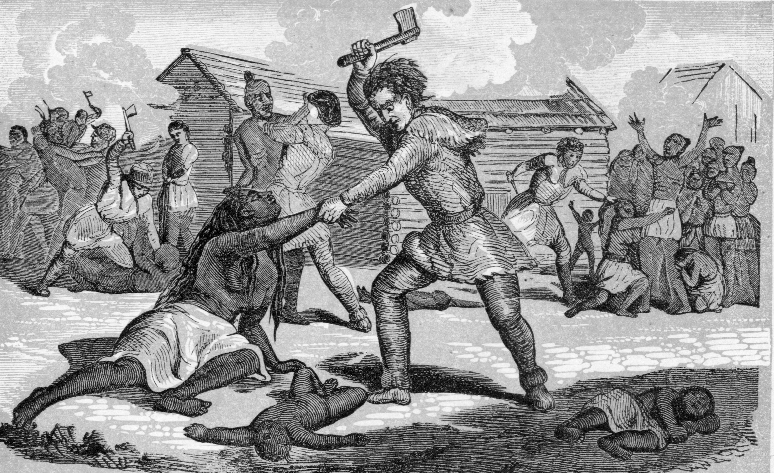The Gnadenhutten Massacre, 1782. (Credit: Archive Photos/Getty Images)