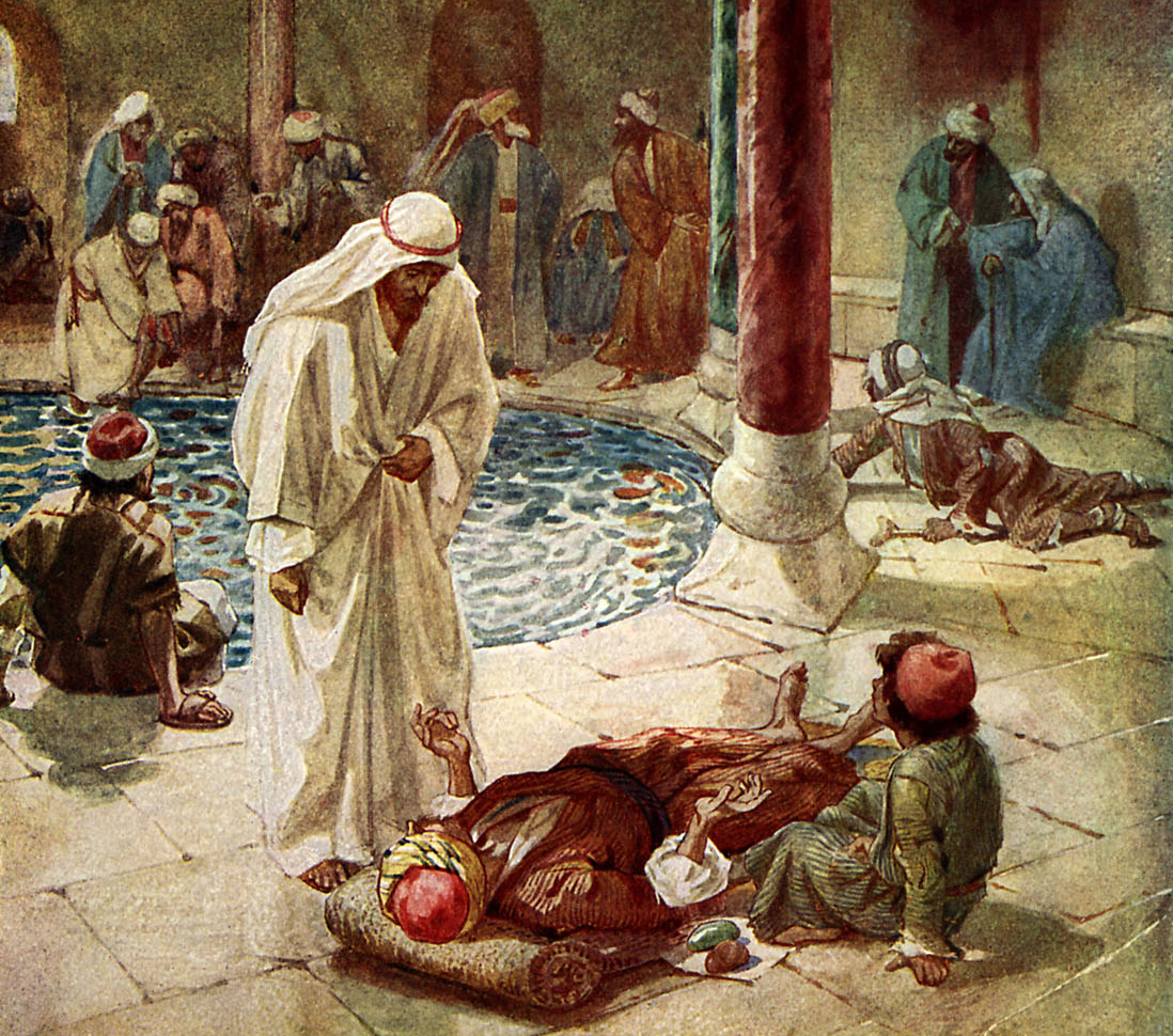 Jesus cures a sick man who is unable to reach the pool at Bethesda, which contains healing waters. (Credit: Culture Club/Getty Images)