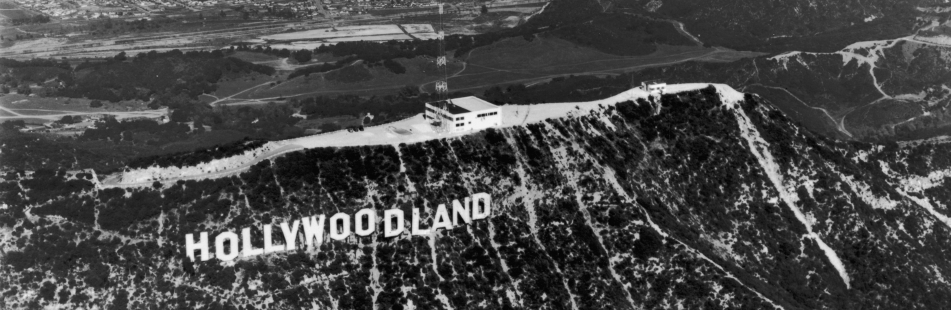 Hollywoodland sign in California, 1935. The 'land' part of the sign was removed in the 1940s. (Credit: Hulton Archive/Getty Images)