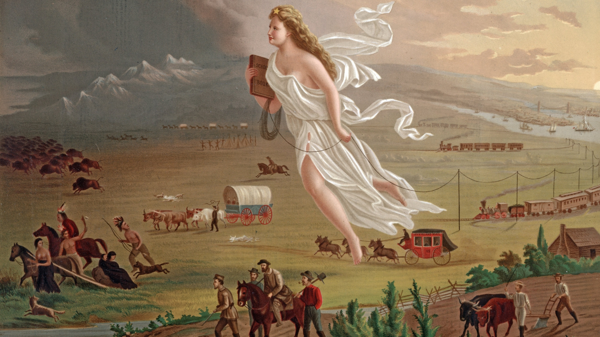 A woman in a white robe, the symbol of 'Manifest Destiny,' floating over the prairie as Native Americans and bison run in front of her, followed by signs of western expansion. (Credit: Universal History Archive/UIG/Getty images)