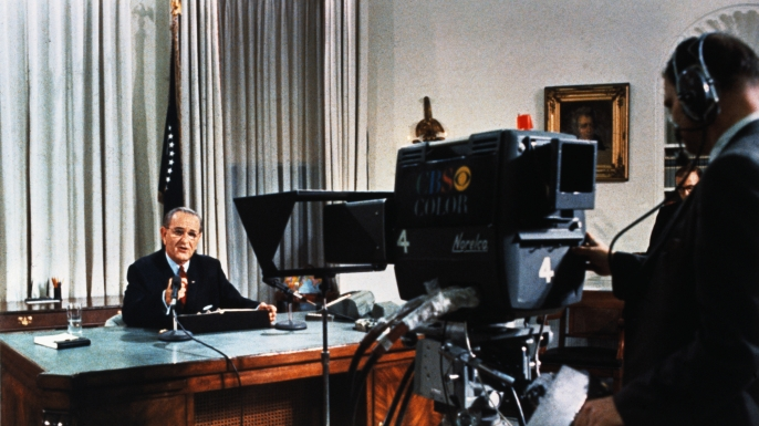 President Lyndon B. Johnson during his nationwide television broadcast from the White House, March 31st, in which he made his dramatic announcement that he would not seek and would not accept the nomination of the Democratic Party for another term as President. (Credit: Bettmann Archive/Getty Images)