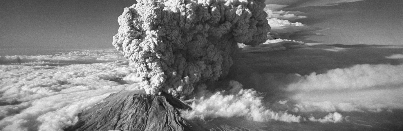 Looking more like a smoke cloud from an A-bomb blast than steam and ash from a volcano eruption, Mt. St. Helens sent this plume of steam and ash some 60,000 feet in the air, 1980.