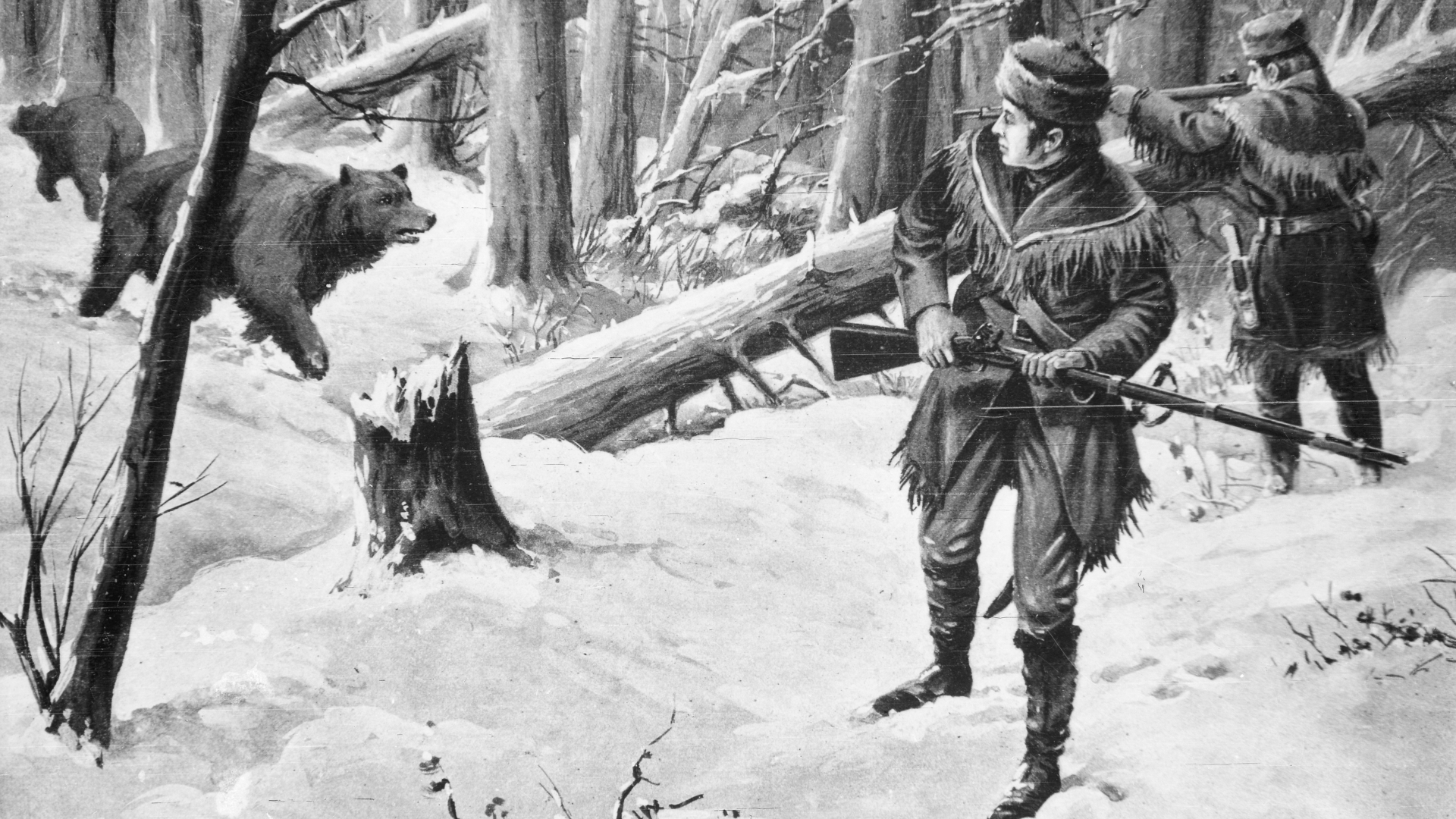 Frontiersman Lewis and Clark fighting off bears. (Credit: Bettmann Archives/Getty Images)