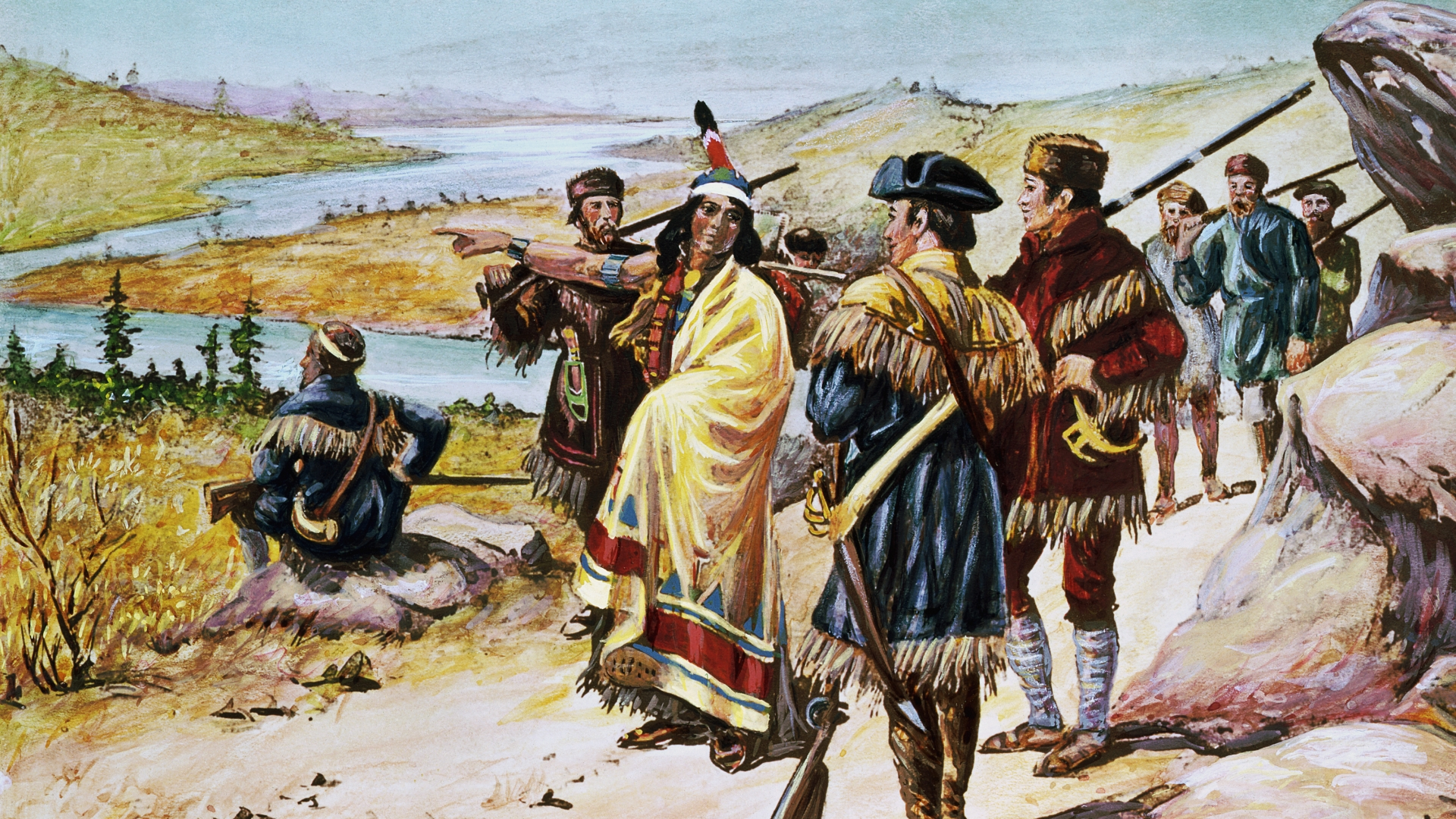 Sacajawea guiding Lewis and Clark from Mandan through the Rocky Mountains. (Credit: Bettmann Archives/Getty Images)