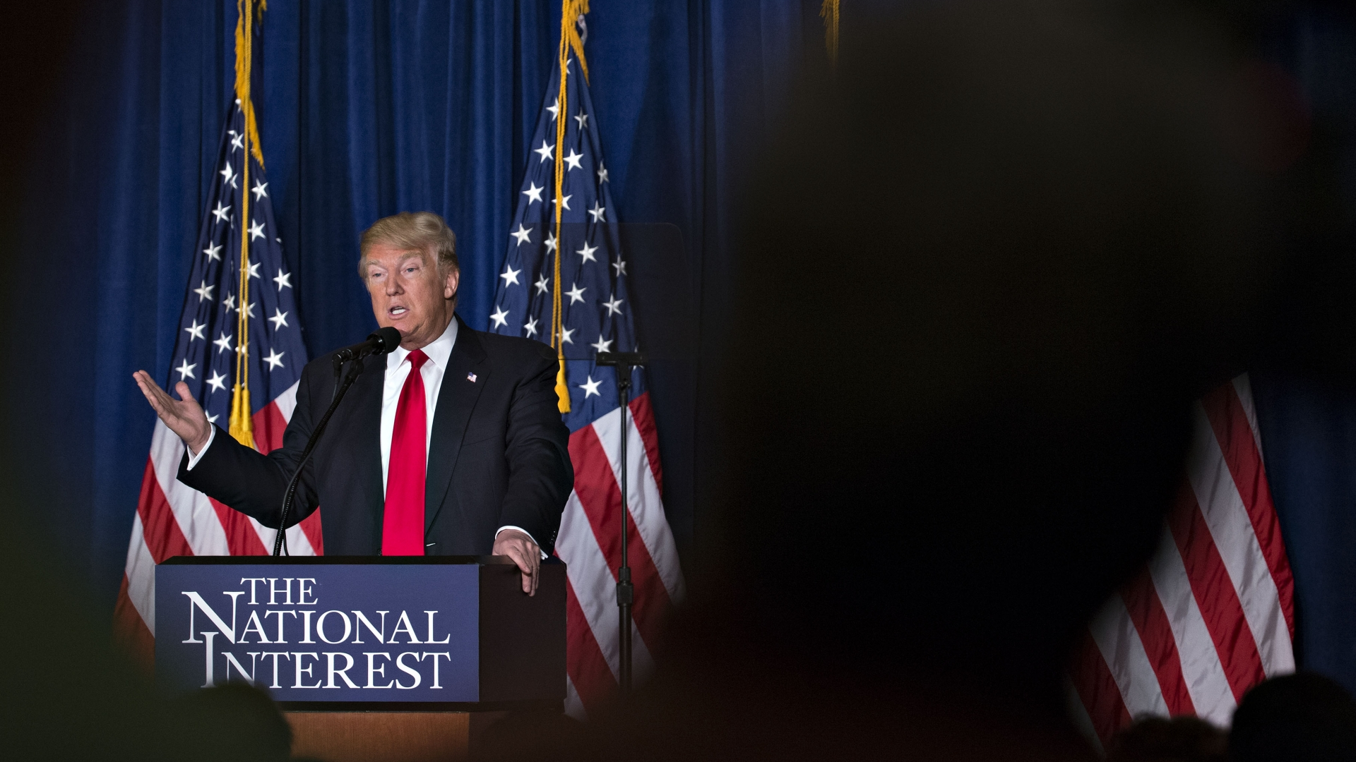 President Donald Trump during an address on foreign policy, 2016. (Credit: Andrew Harrer/Bloomberg via Getty Images)