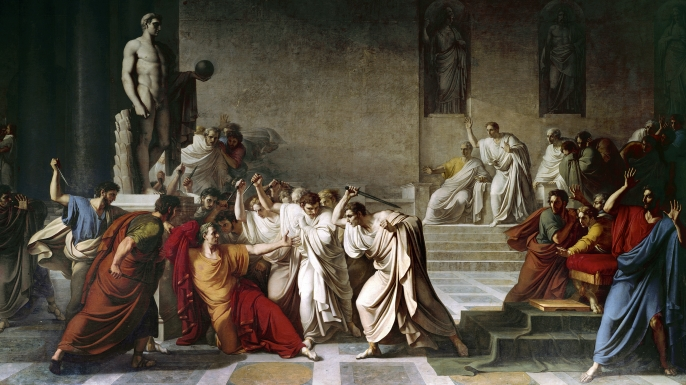 The death of Julius Caesar in the Roman Senate, painting by Vincenzo Camuccini. (Credit: Leemage/Corbis via Getty Images)