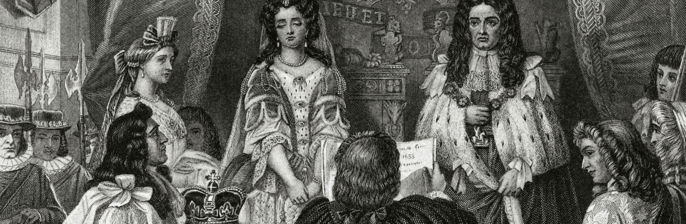 William III and Mary II being offered the crown by the Lords and Commons at Whitehall. They reigned 1689-1702.  (Credit: Bob Thomas/Popperfoto/Getty Images)