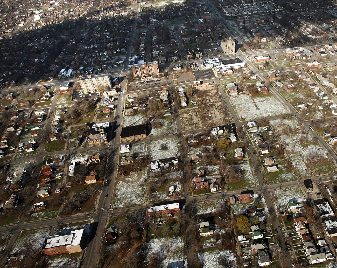An aerial view of a Detroit neighborhood with numerous empty lots. (Credit: Spencer Platt/Getty Images)