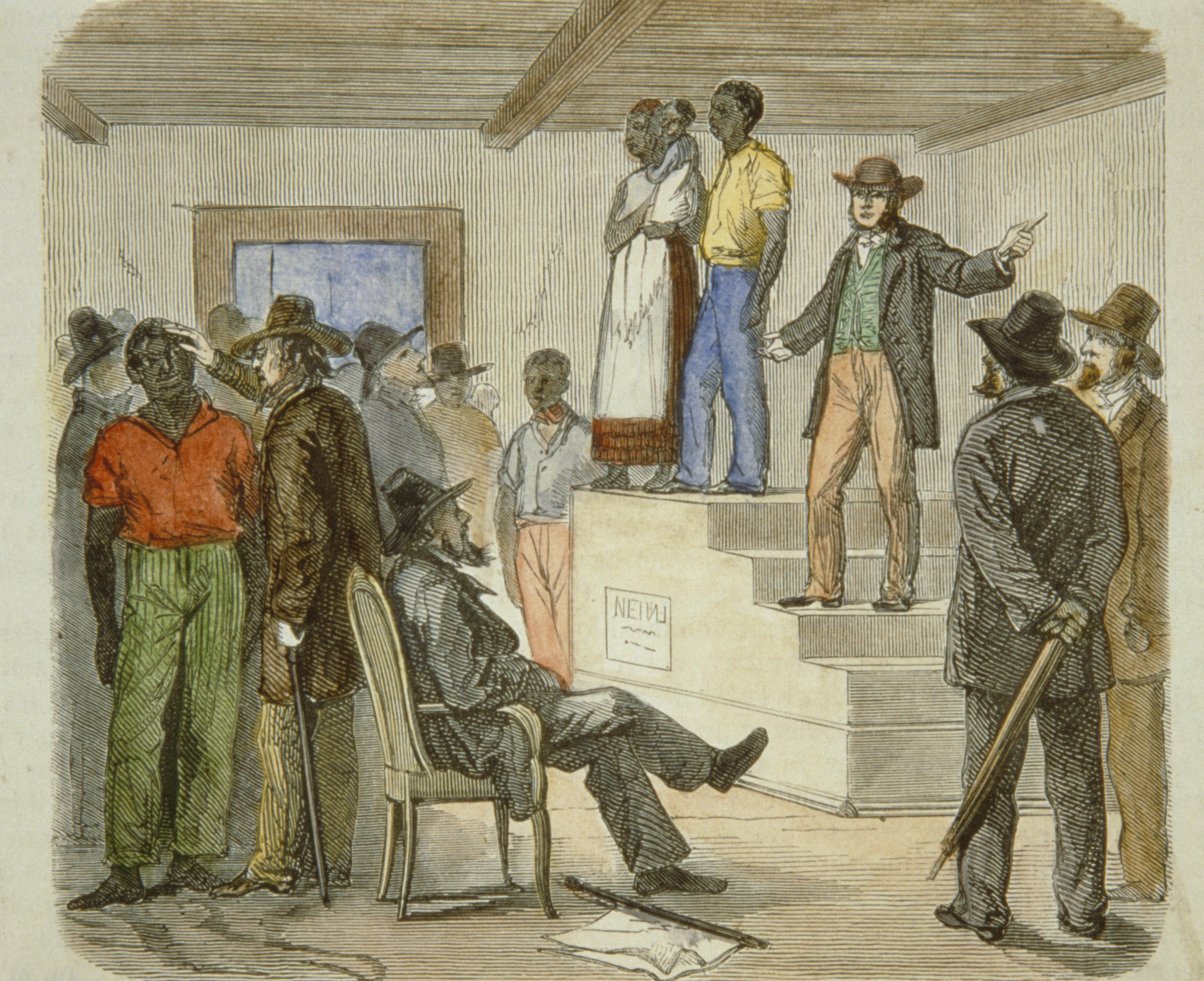 Slave auction circa 1861. (Credit: API/Gamma-Rapho/Getty Images)