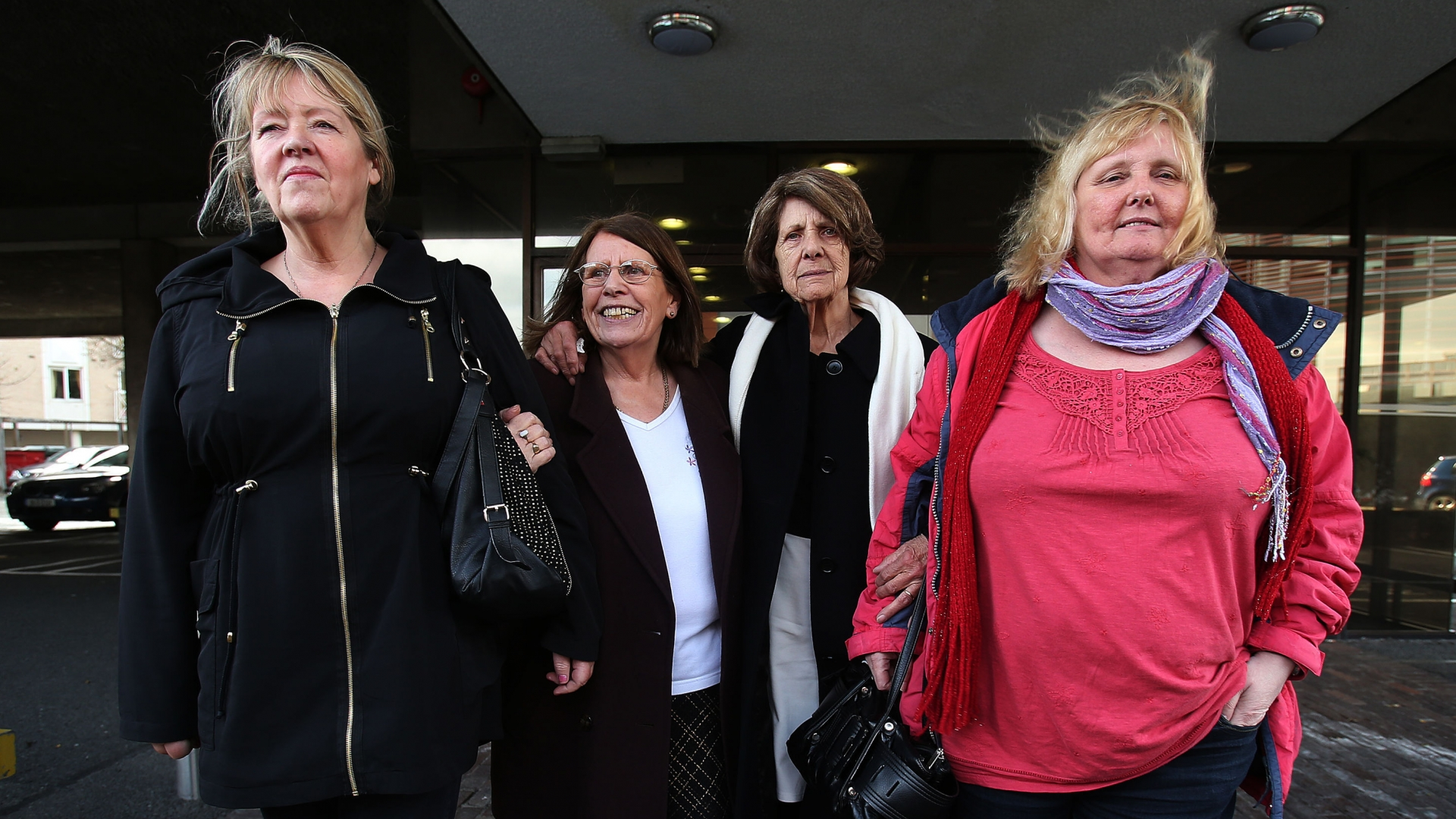 Survivors (left to right) Maureen Sullivan, Mary McManus, Kitty Jennette and Mary Smith, at the Law Reform Commission offices in Dublin to discuss proposed compensation packages, for those who survived Catholic-run workhouses known as Magdalene laundries. (Credit: Julien Behal/PA Images/Getty Images)