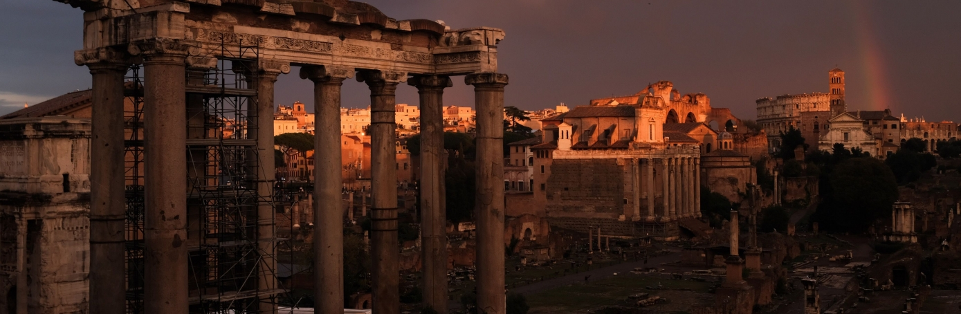 The ruins of the ancient Roman Forum during a sunset. (Credit: Alberto PizzoliAFP/Getty Images)