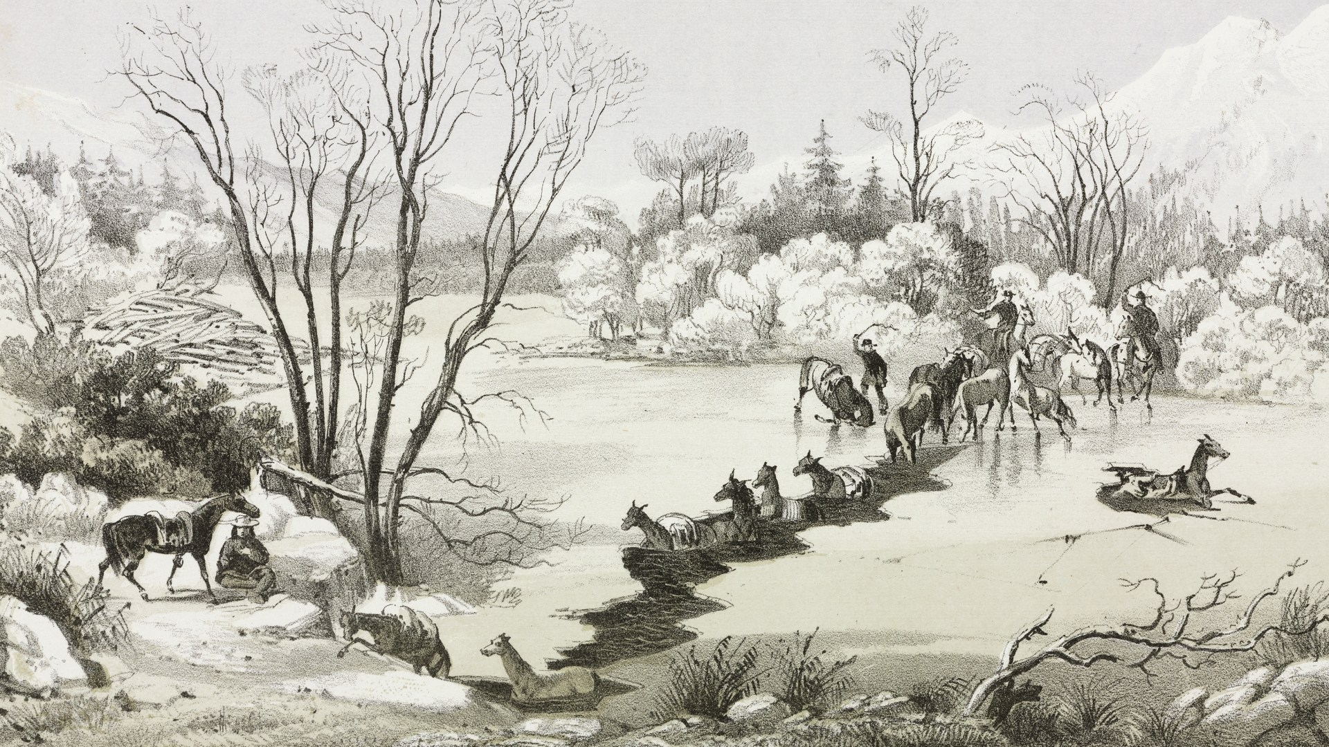 Explorers crossing the Hellgate River in Montana, 1854, where their horses fell into the frozen over river. (Credit: SSPL/Getty Images)