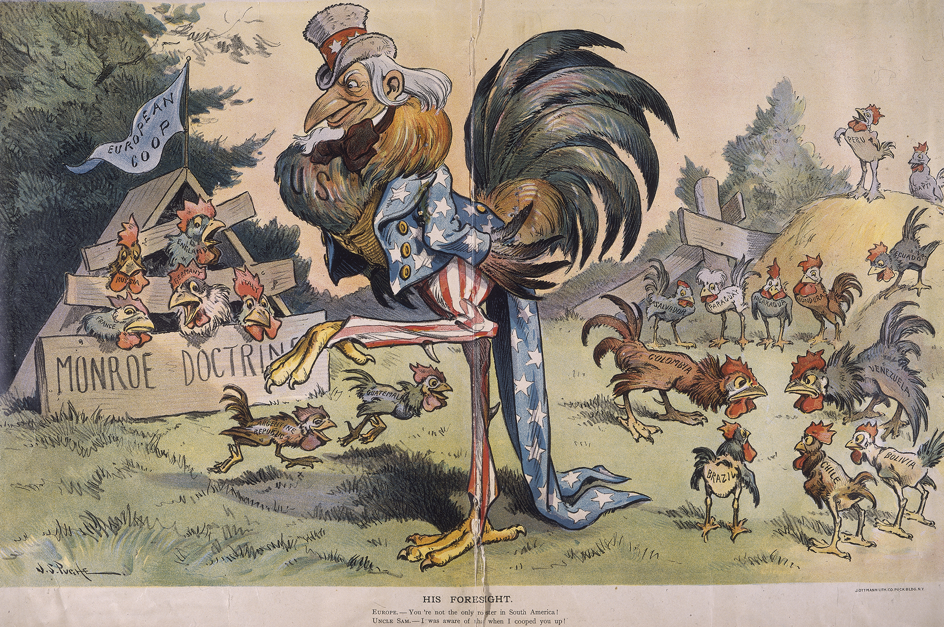 1901 political cartoon that depicts Uncle Sam as a large rooster, while European nations are represented by birds in a coop marked 'Monroe doctrine.' (Credit: Fotosearch/Getty Images).