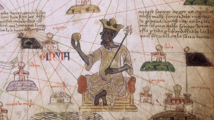 Mansa Musa, King of Mali, on a map of North Africa circa 1375. (Credit: Fotosearch/Getty Images)