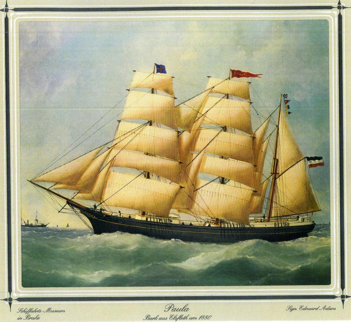 Painting of German merchant sailing barque Paula in 1880 by Edouard Adam. (Credit: Deutsches Schiffahrtsmuseum-Unterweser/Western Australia Museum)
