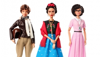 Amelia Earhart, Frida Kahlo, and Katherine Johnson from the Barbie Inspiring Women collection. (Credit: Mattel)
