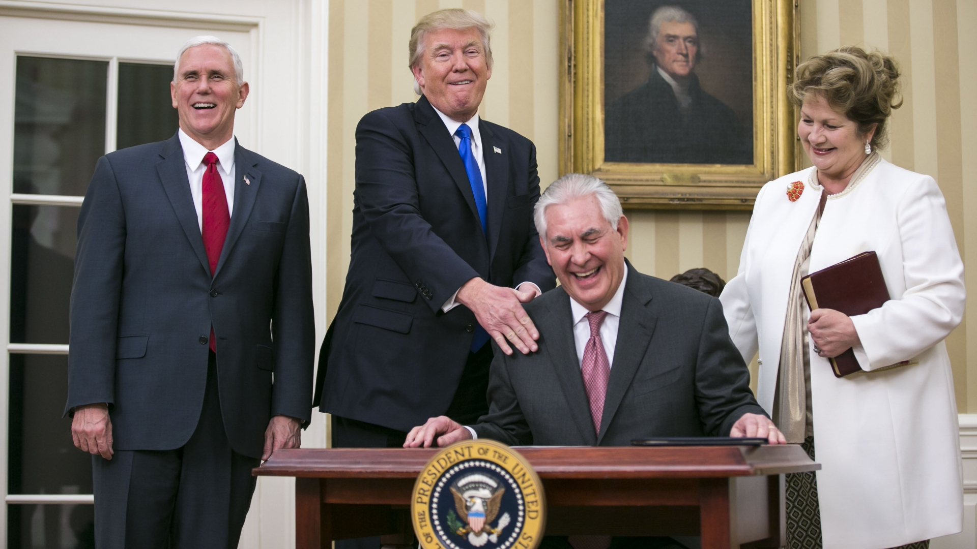 Rex Tillerson with his wife after being sworn in as Secretary of State by President Donald Trump and Vice President Mike Pence in the Oval Office of the White House, February 1, 2017. (Credit: Al Drago/The New York Times/Redux)