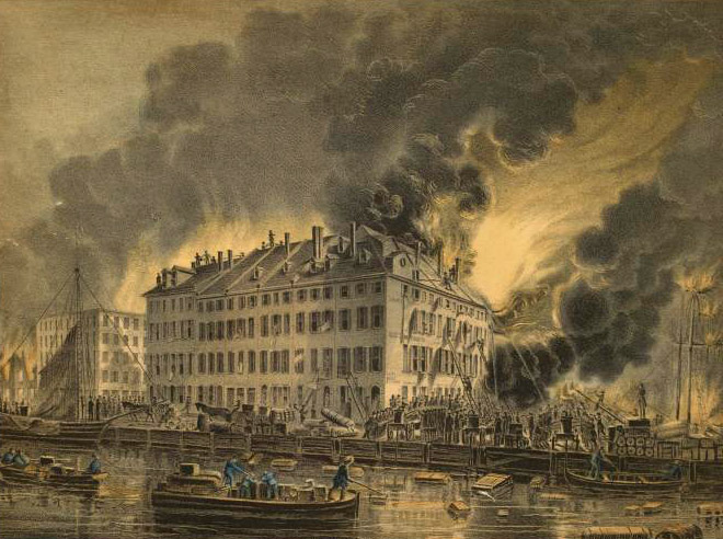View of the Great Conflagration, 1835. (Credit: The New York Public Library)