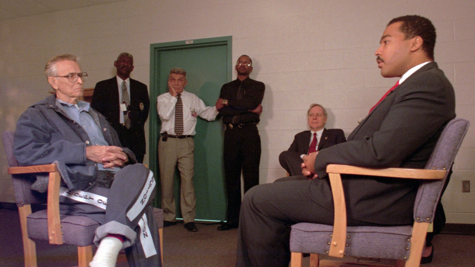 Dexter King, son of slain civil rights leader Martin Luther King, Jr., meeting with James Earl Ray the man who confessed to killing King. (Credit: State of Tennessee, Earl Warren/AP Photo)