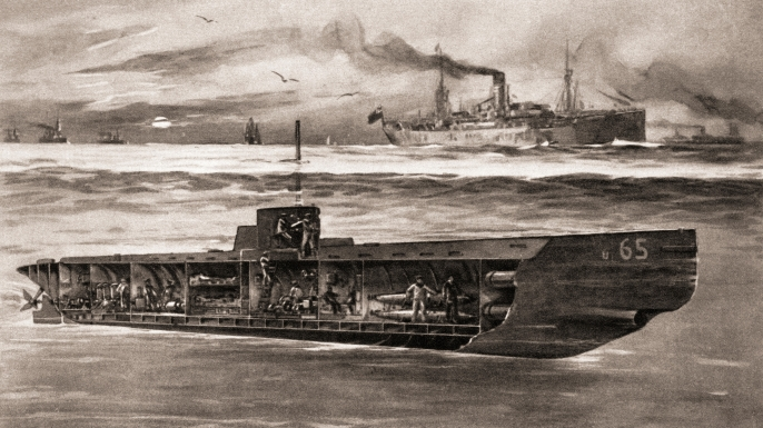 A German drawing of a submerged U boat in British waters during World War One. (Credit: Classic Image/Alamy)