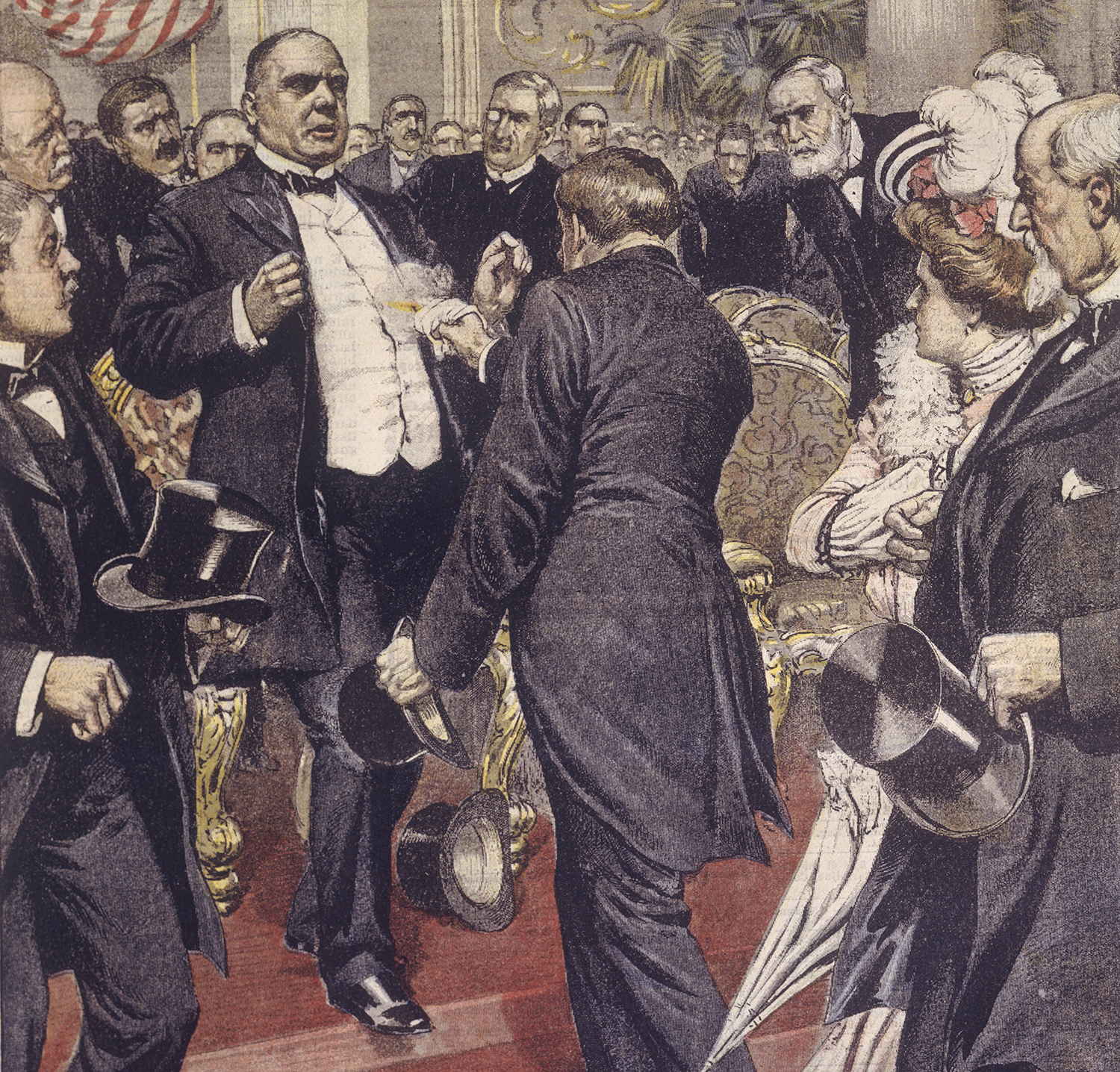 The assassination of President McKinley by the hand of an anarchist at the Exposition in Buffalo, NY. (Credit: DEA/A. DAGLI ORTI/De Agostini/Getty Images)