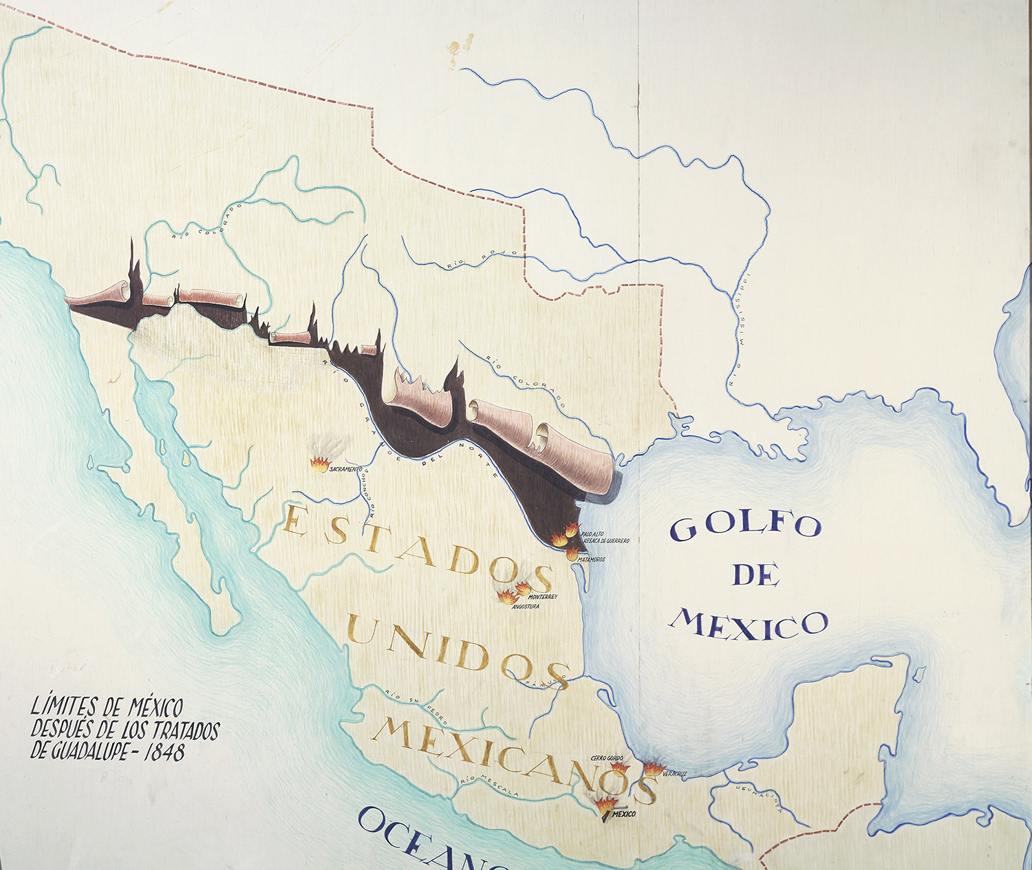 map of mexico with the new boundaries established by the treaty of guadalupe 1848