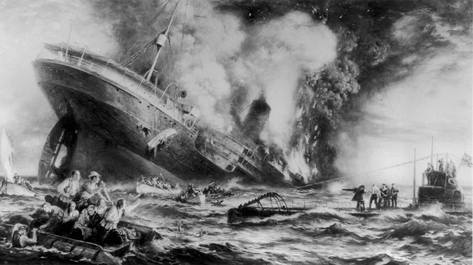 The sinking of Lusitania by a German submarine off the Old Head of Kinsale, Ireland, 1915. The tragedy killed 128 US citizens, helping bring the US into World War I. (Credit: Three Lions/Getty Images)