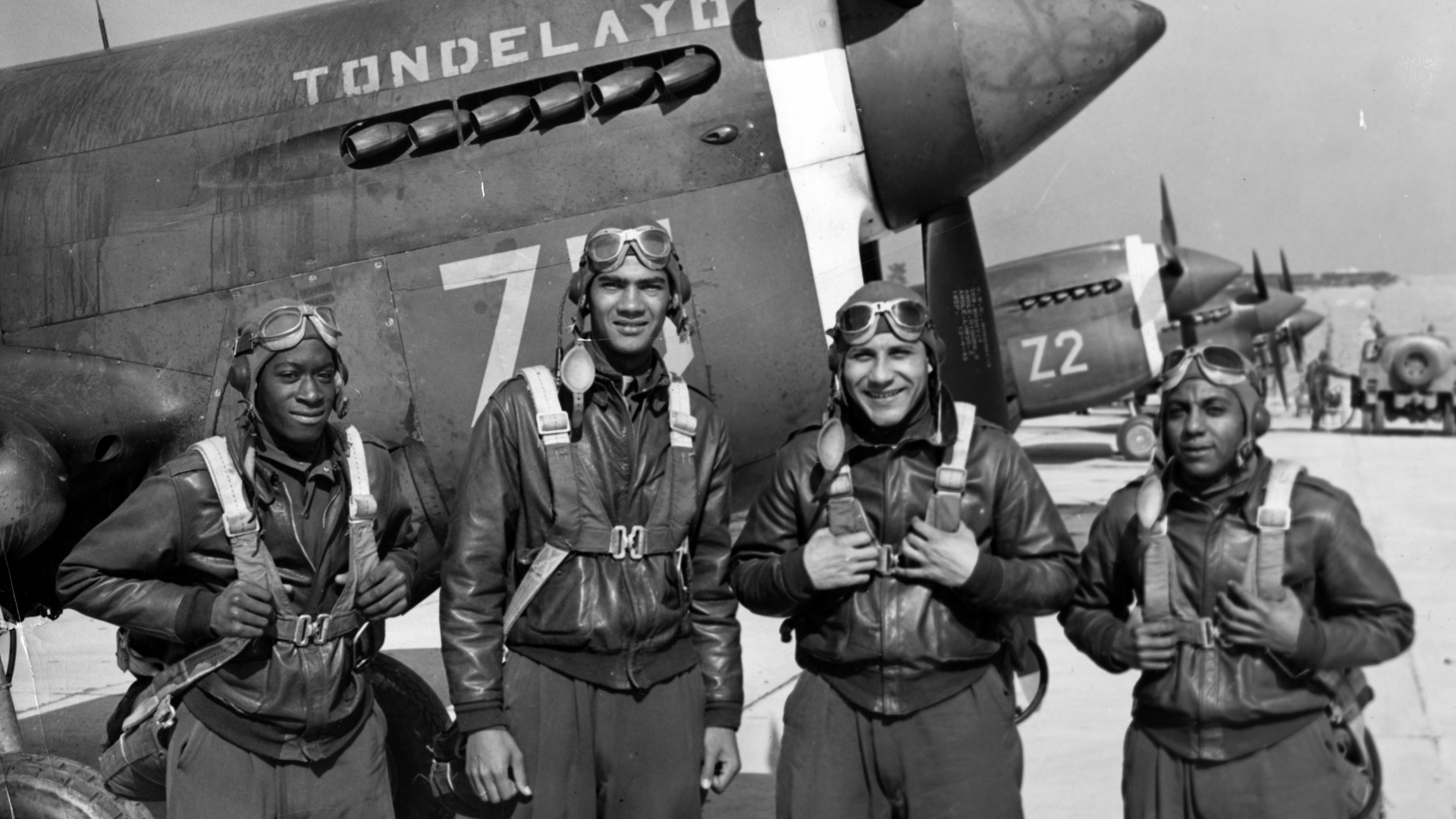 Members of the 1942 graduating class at Tuskegee Army Flying School: Alwayne Dunlap, Lawrence E Dickson, Wilmeth W Sidat Singh and Elmer L Gordon. (Credit: Afro American Newspapers/Gado/Getty Images)
