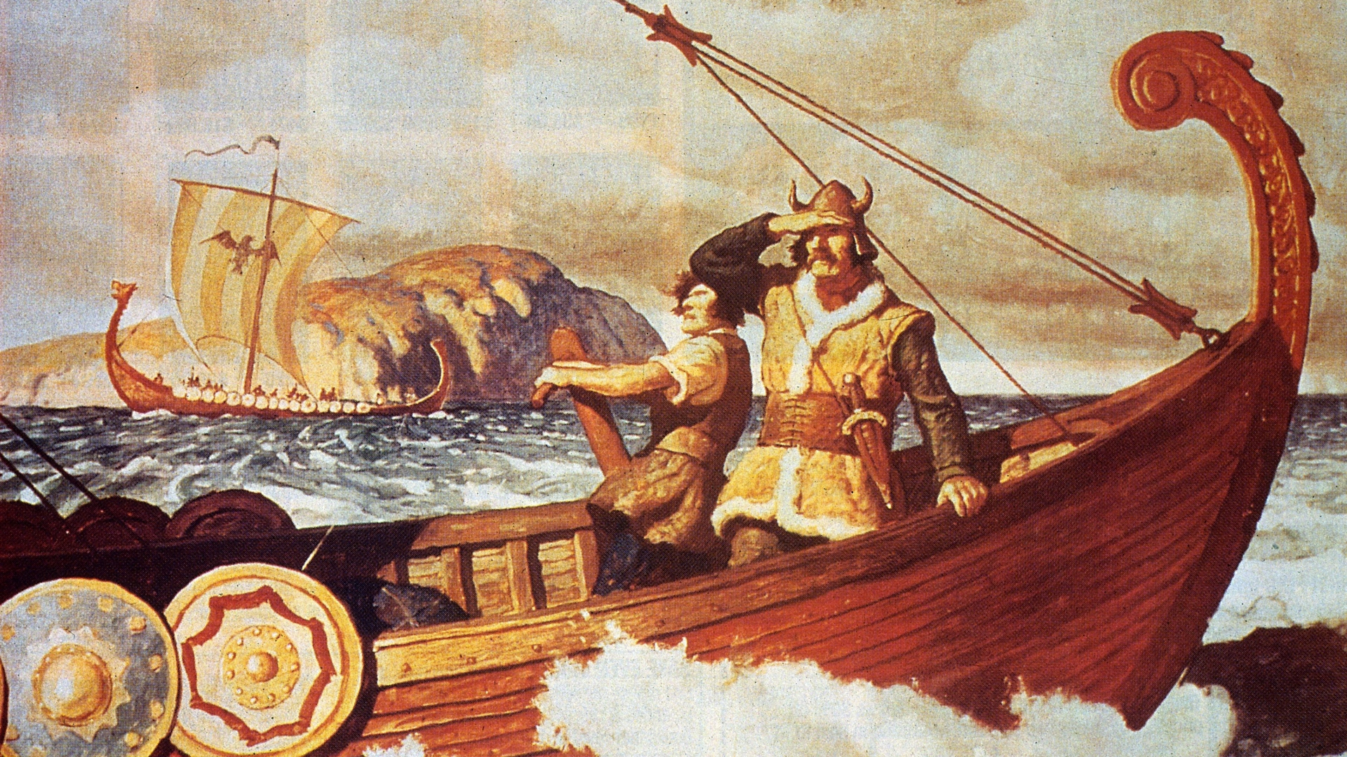 Viking sailors making the long voyage across the Atlantic between Europe and America. Painting by NC Wyeth. (Credit: Hulton Archive/Getty Images)